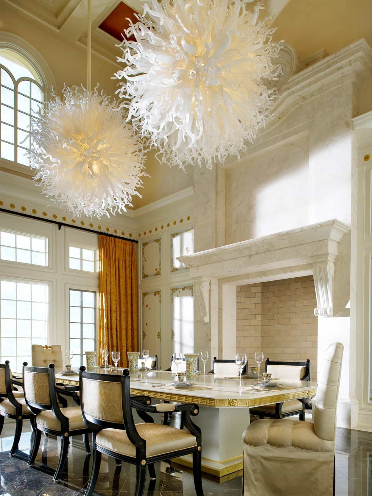 Classic Romantic Dining Room With Romantic Upholstered Chairs And Artistic Chandelier Lighting (Photo 20 of 21)