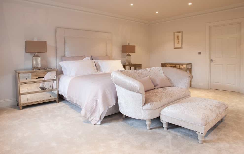 Classy Elegant Bedroom Interior With Muted Tones And Plush Fabrics Carpet (Image 6 of 18)