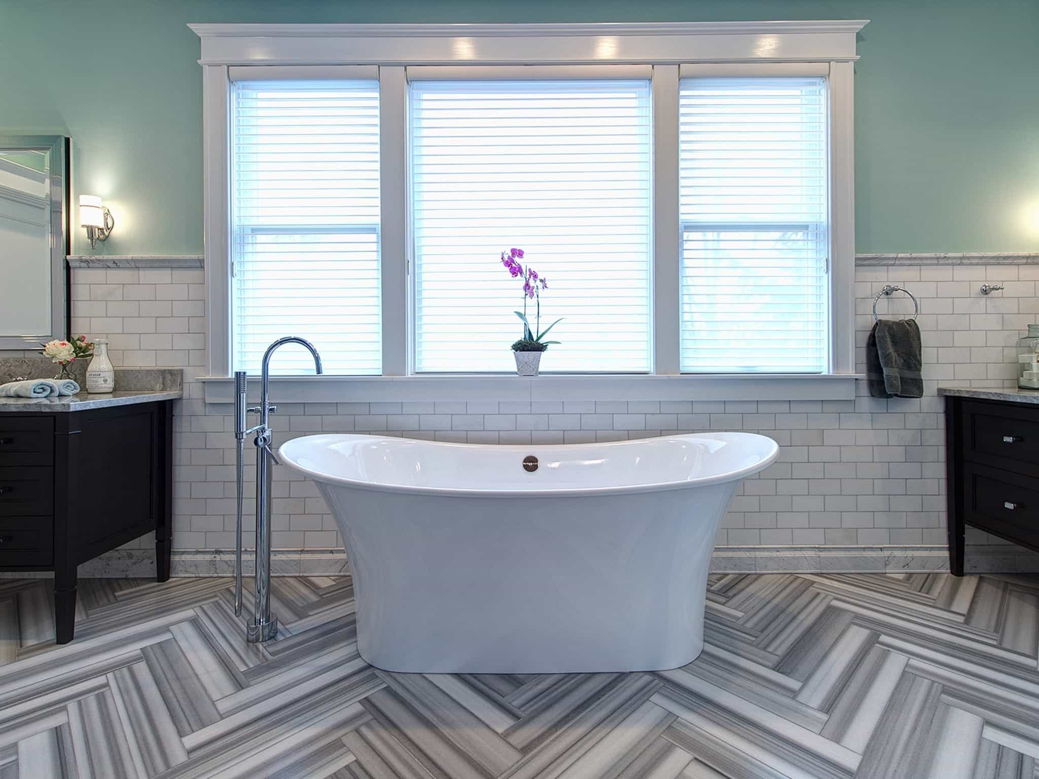 Contemporary Blue Bathroom With Herringbone Floor (Image 5 of 20)