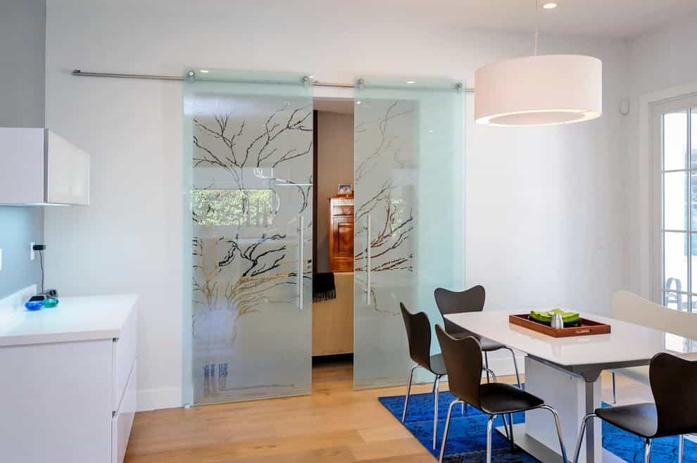 Contemporary Dining Room Glass Door Etching Designs (Image 2 of 7)