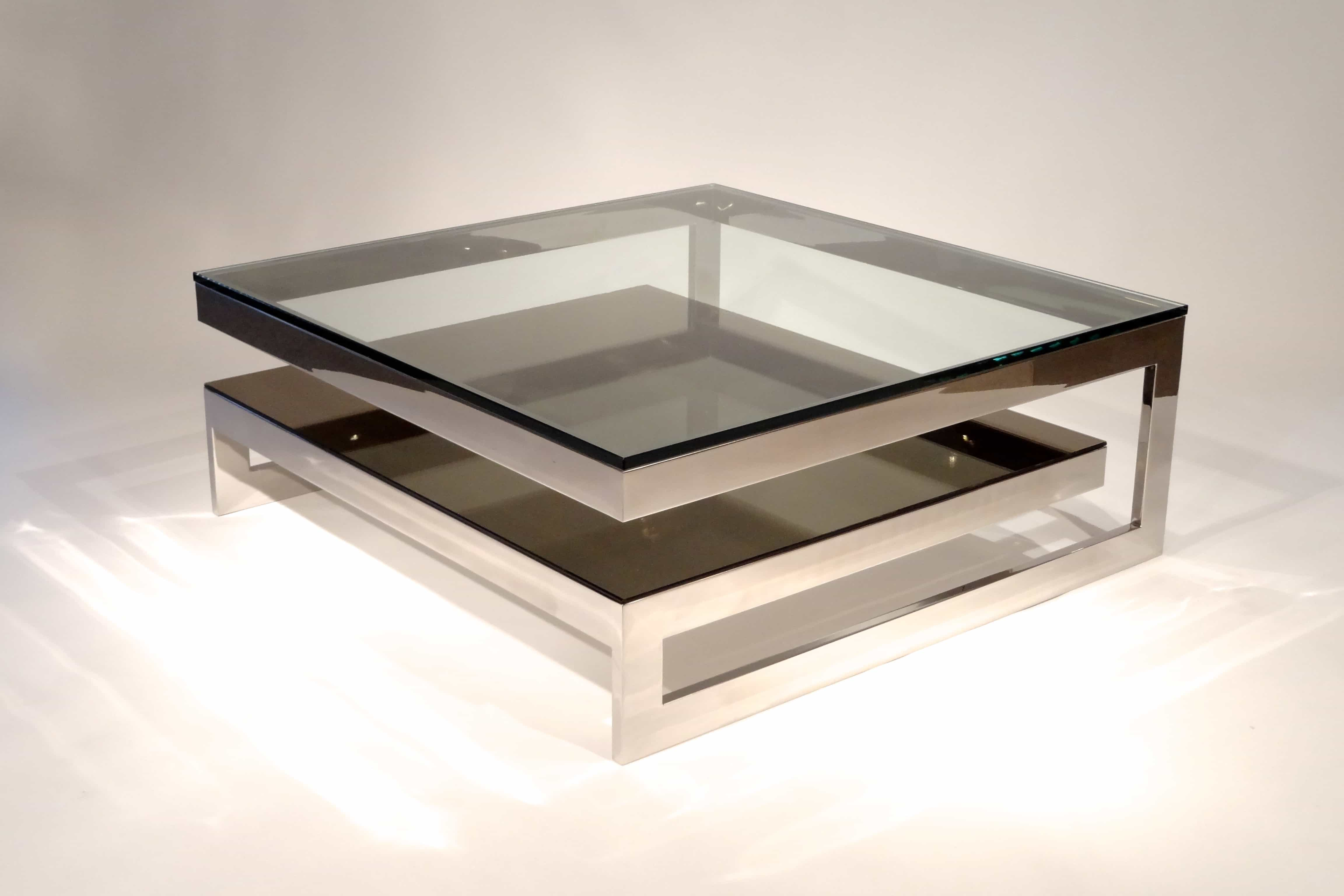Contemporary Double Layers Square Glass Top Coffee Table (Image 5 of 30)