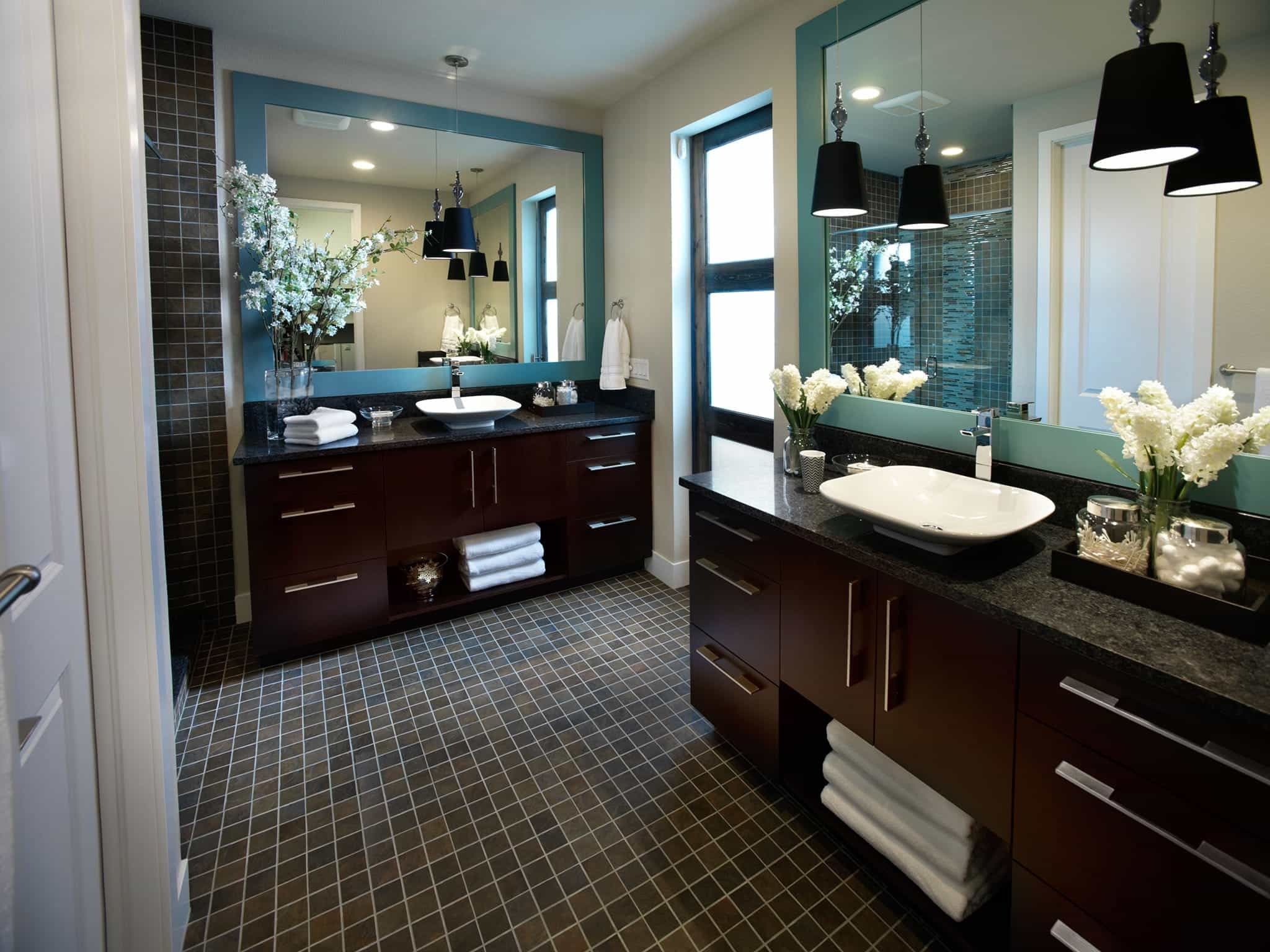 Contemporary Master Bathroom With Black Dark Wood Vanities (View 8 of 10)