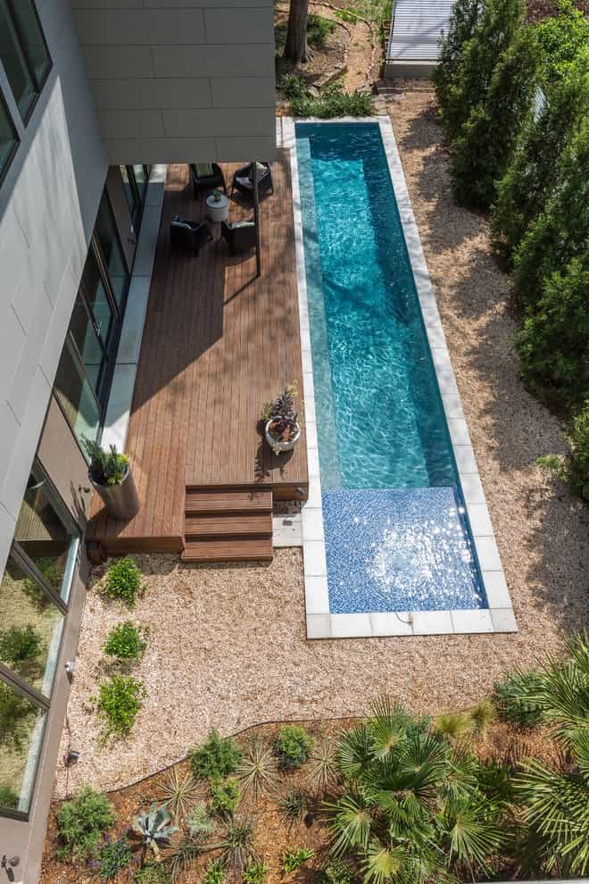 Contemporary Pool Oasis With Large Wood Deck (View 14 of 25)