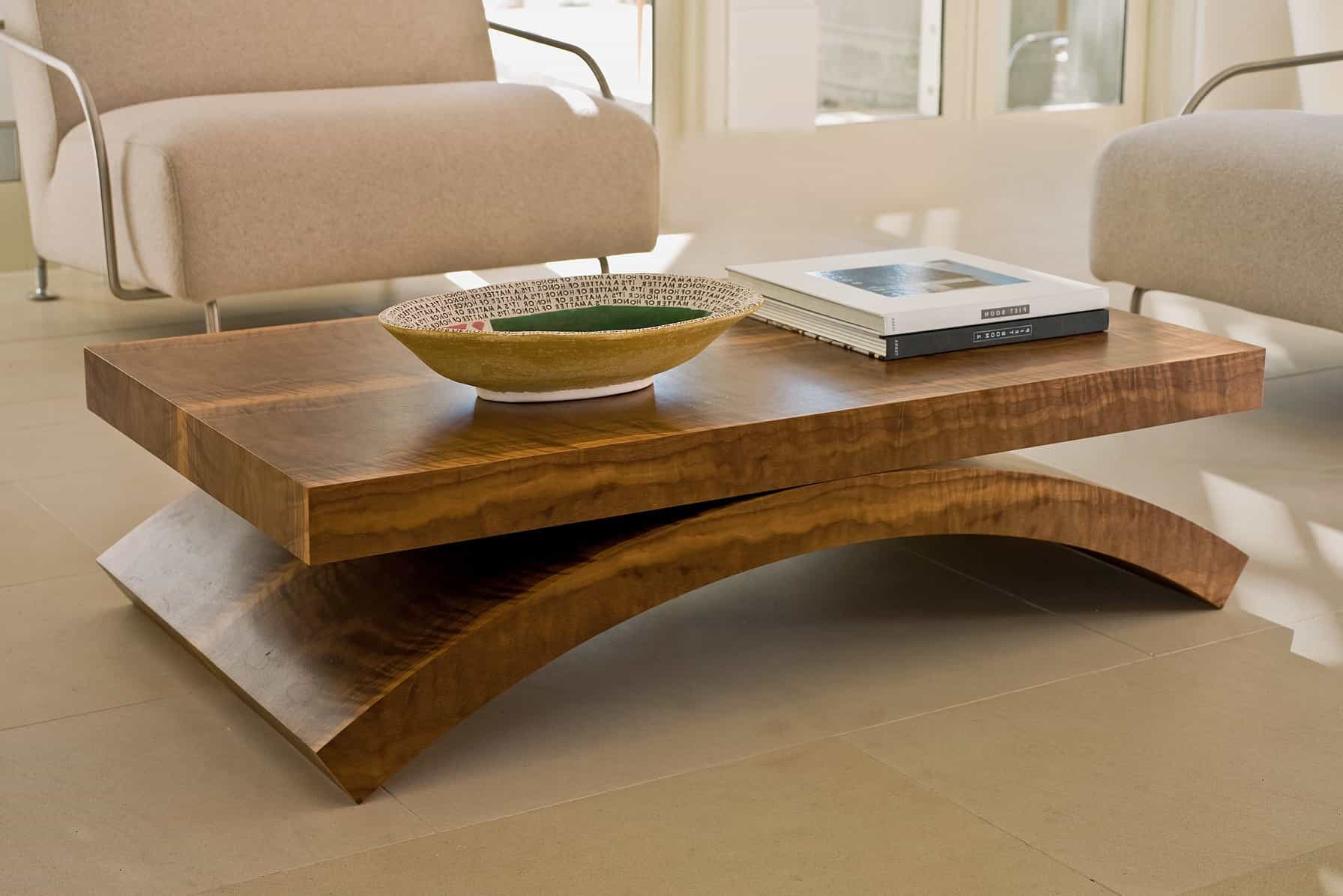 Contemporary Solid Wood Rectangle Coffee Table (Image 6 of 30)