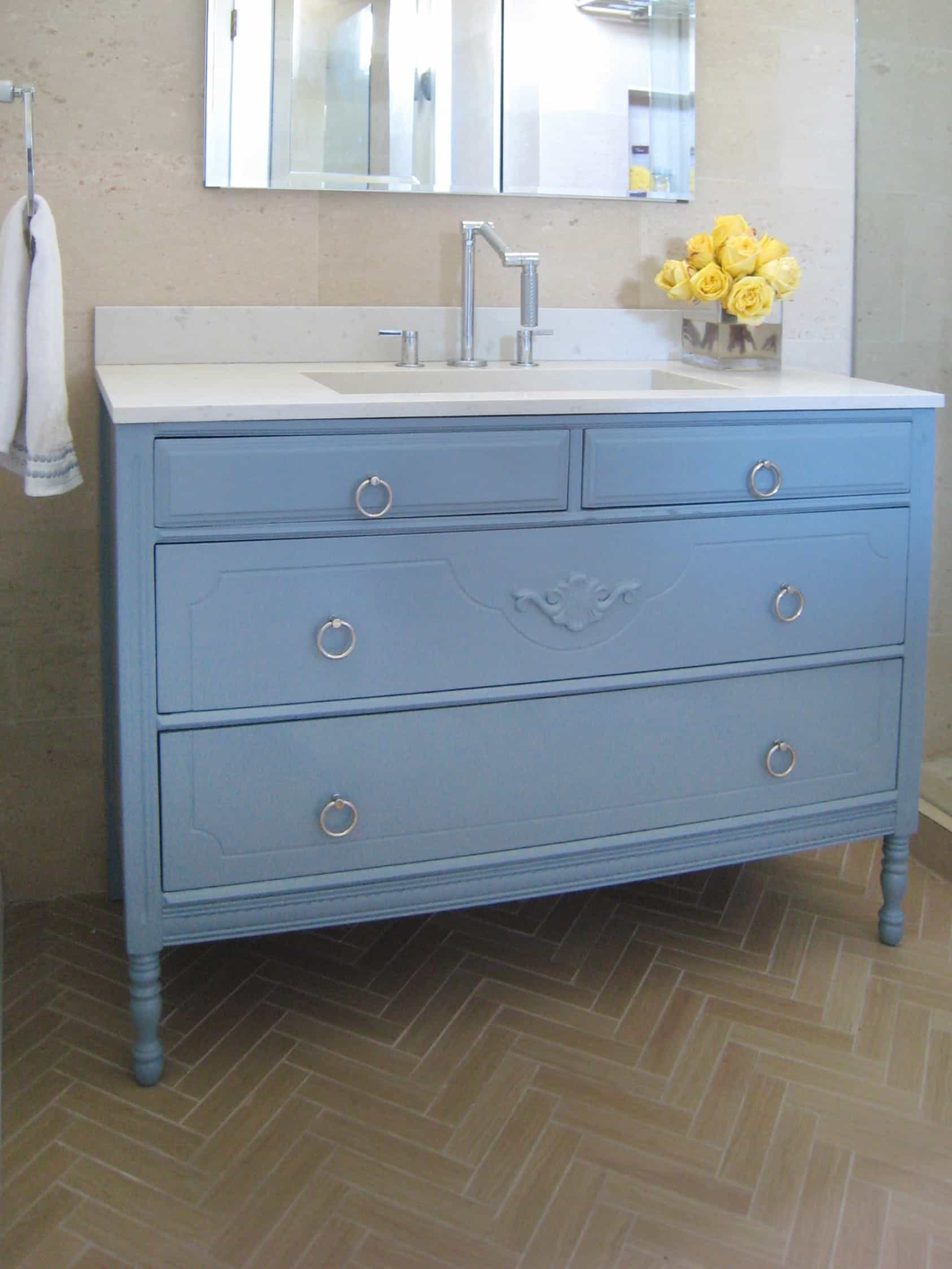 Country Vintage Blue Bathroom Vanity (Image 4 of 12)