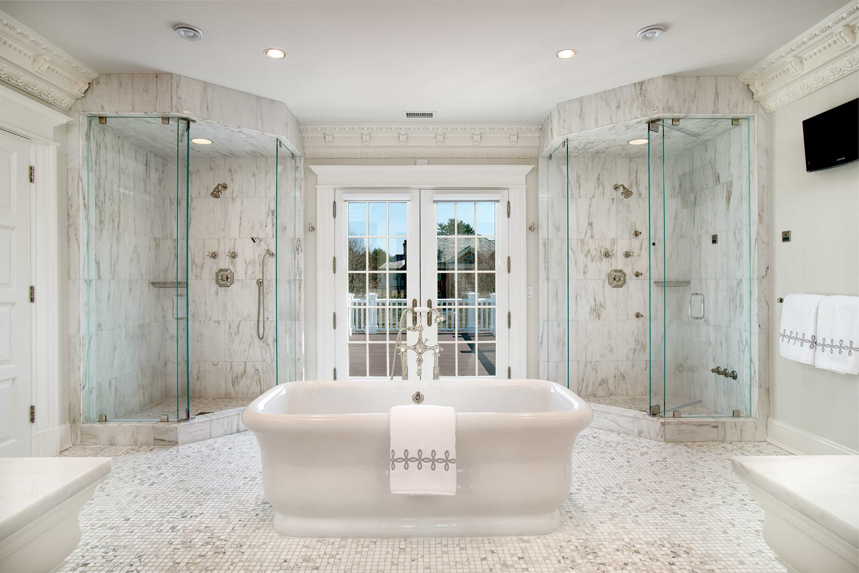 Deluxe French Bathroom Interior Combo With Double Shower Room With Marble Wall And Flooring (Photo 8 of 16)