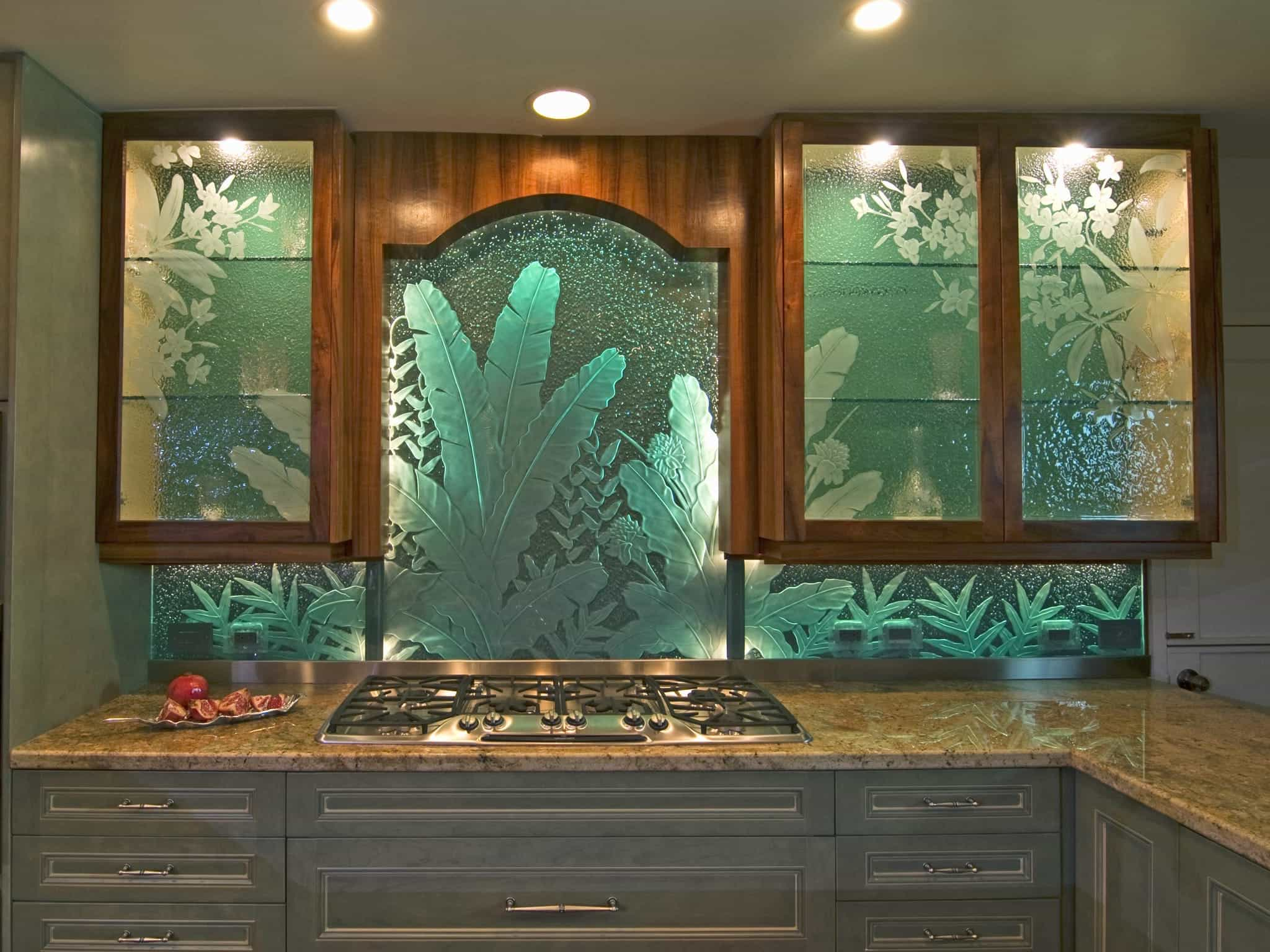 Floral Etched Glass Kitchen Cabinet Doors (Image 6 of 7)