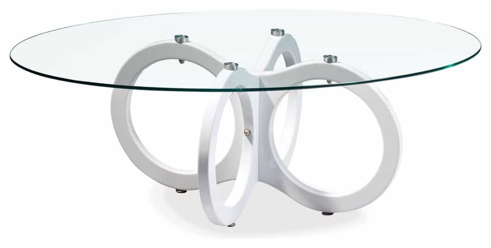 Glossy White Table With Glass Top And Geometric Shape (Image 8 of 30)