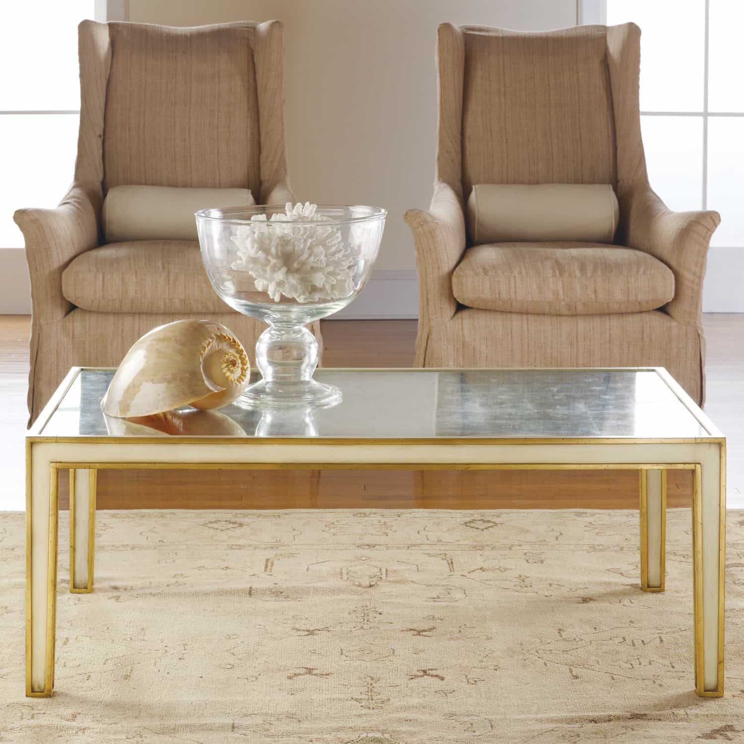 Gold Classic Coffee Table With Sofa And Centerpieces Decor (Image 9 of 30)