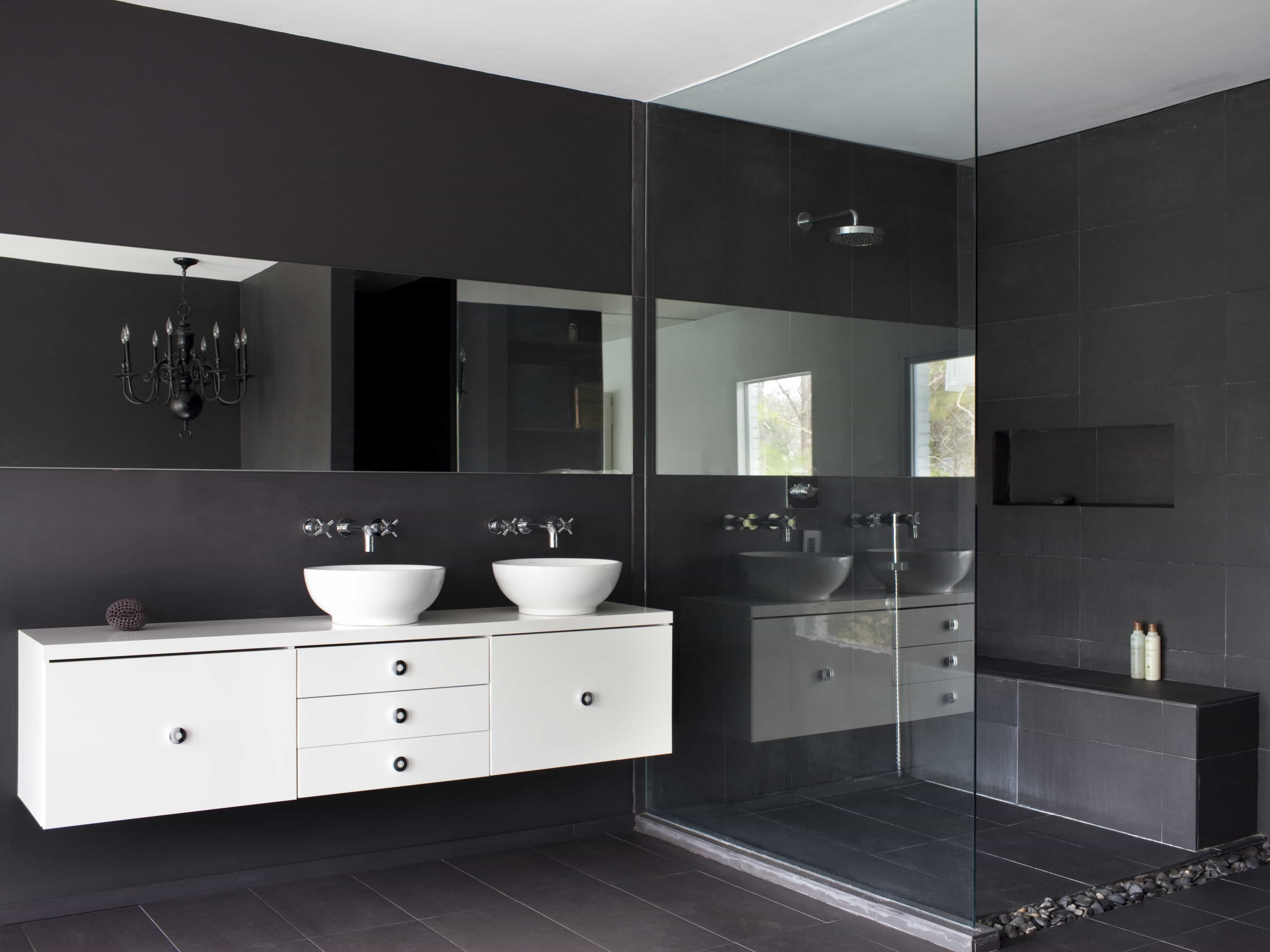 Gray Modern Master Bathroom With Glass Shower (Image 9 of 10)
