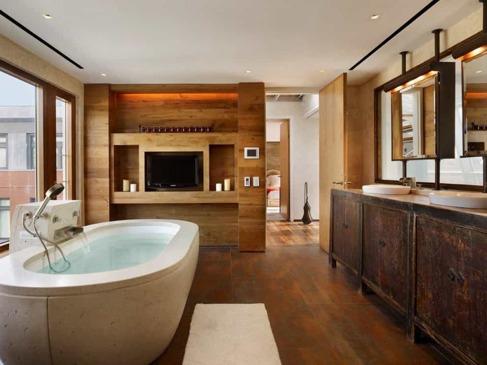 Luxury Wooden Cabinets With Built In TV For Industrial Bathroom Interior (Image 8 of 15)