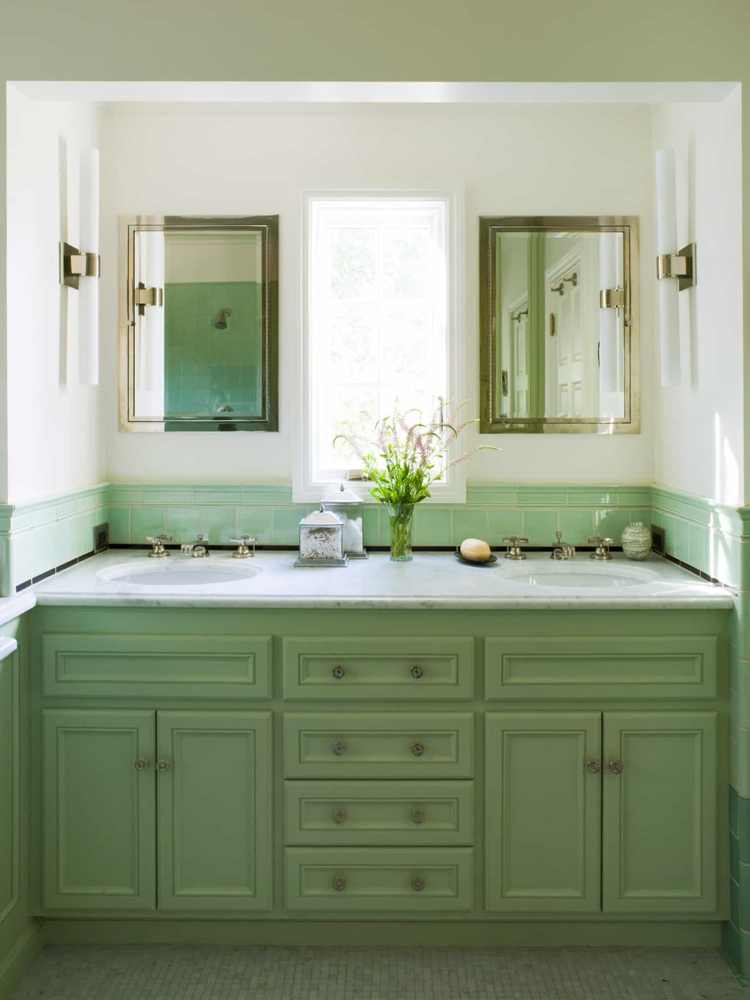 Master Bathroom With Mint Green Double Vintage Vanity (Image 7 of 12)