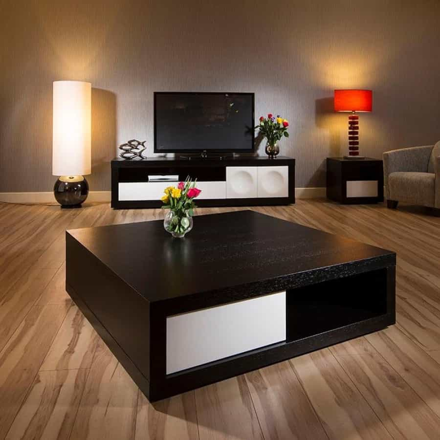 Minimalist Living Room Coffee Table Square Design With Storage (Image 15 of 30)