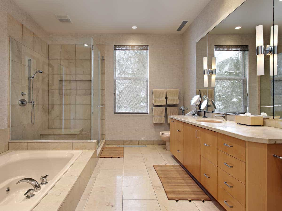 Modern Bathroom Shower Remodel With Bathtub And Toilet (Image 8 of 14)