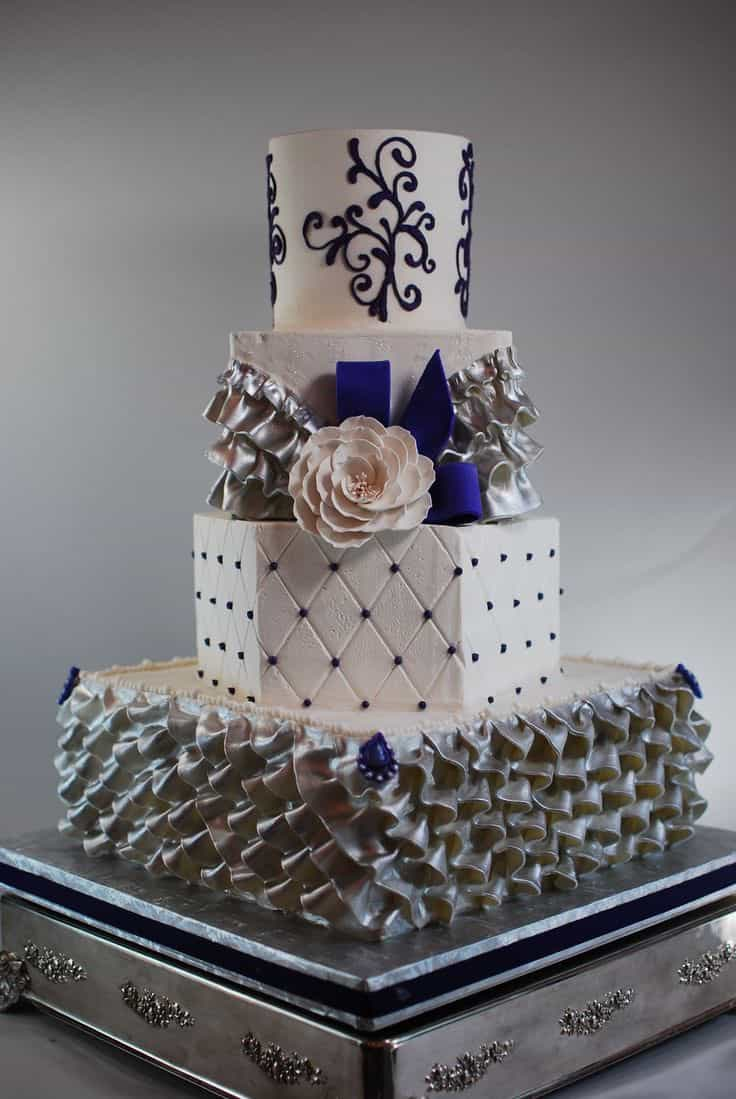 Modern Ruffled With Mixed Shapes Wedding Cake (Image 8 of 10)