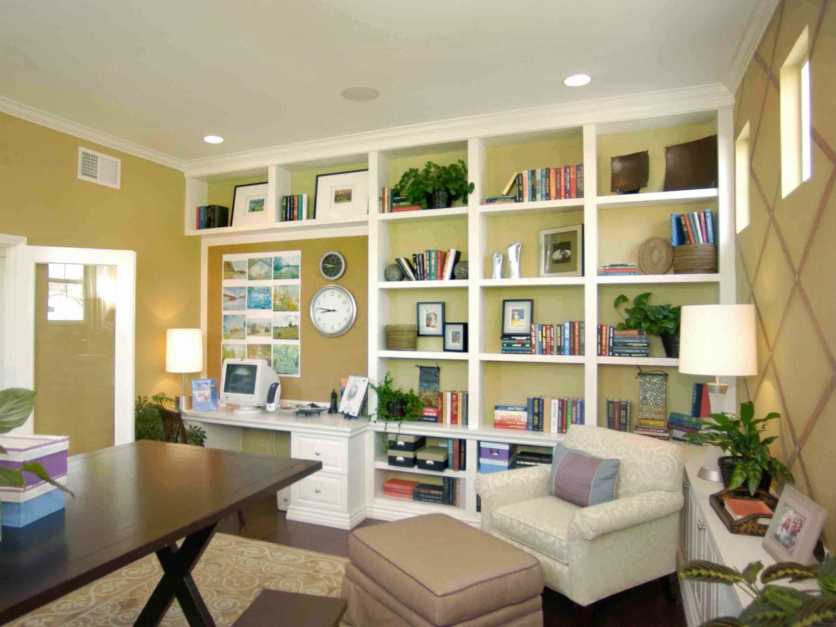 Neutral Cottage Home Office With Large Built In Bookcase (Image 21 of 29)