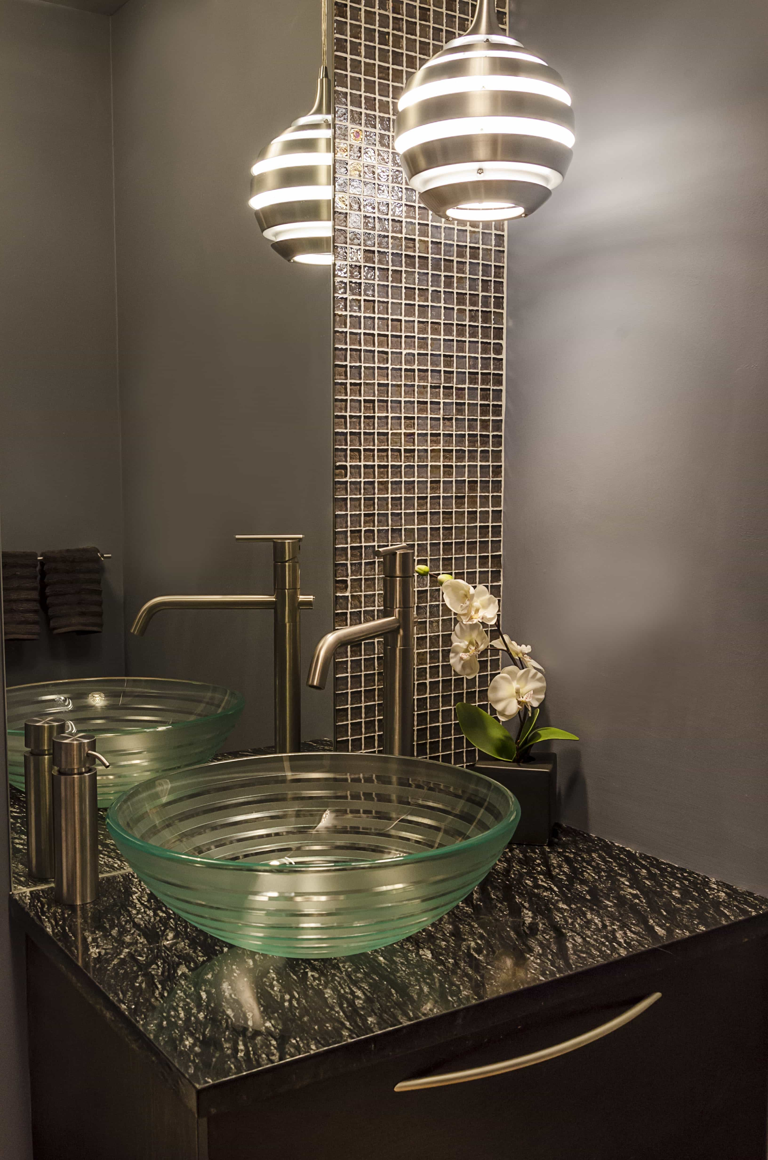 Pearlized Glass Tile And Mirror With A Glass Vessel Sink And Ultramodern Lighting (Image 18 of 20)