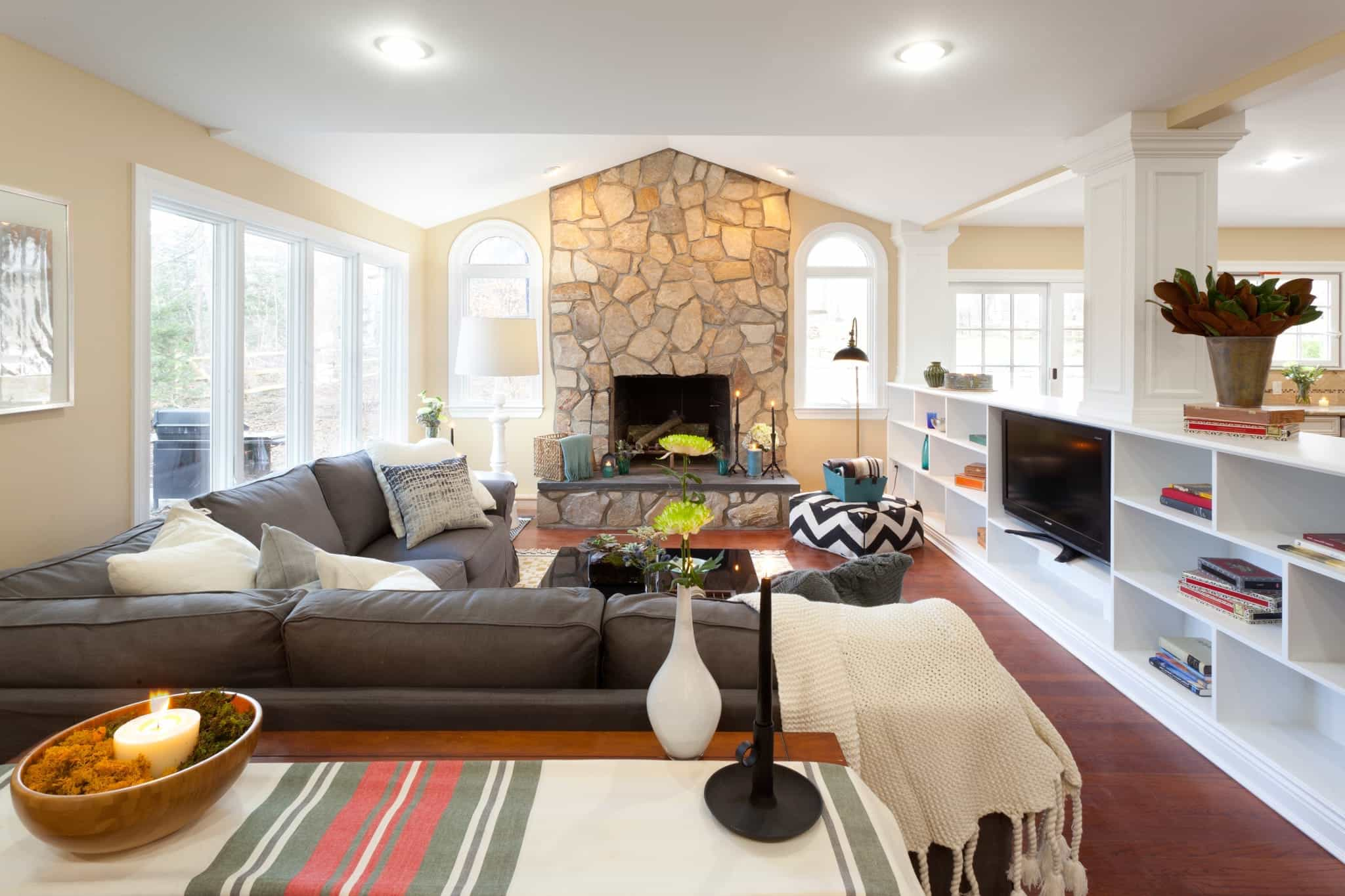 Pottery Barn Inspired Living Room With Bright Warm Accents (Image 10 of 15)