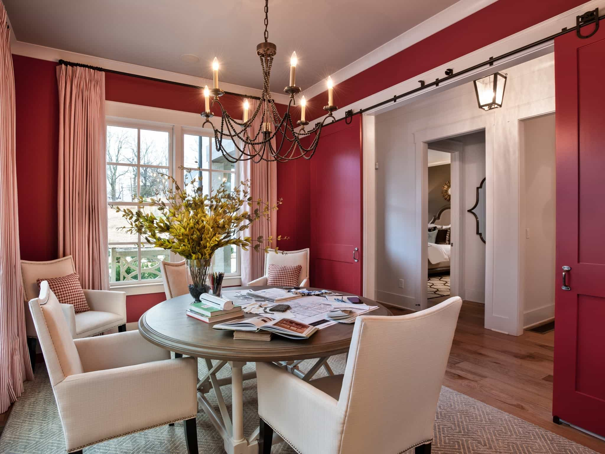 Red Transitional Romantic Dining Room With Sliding Doors (View 9 of 21)