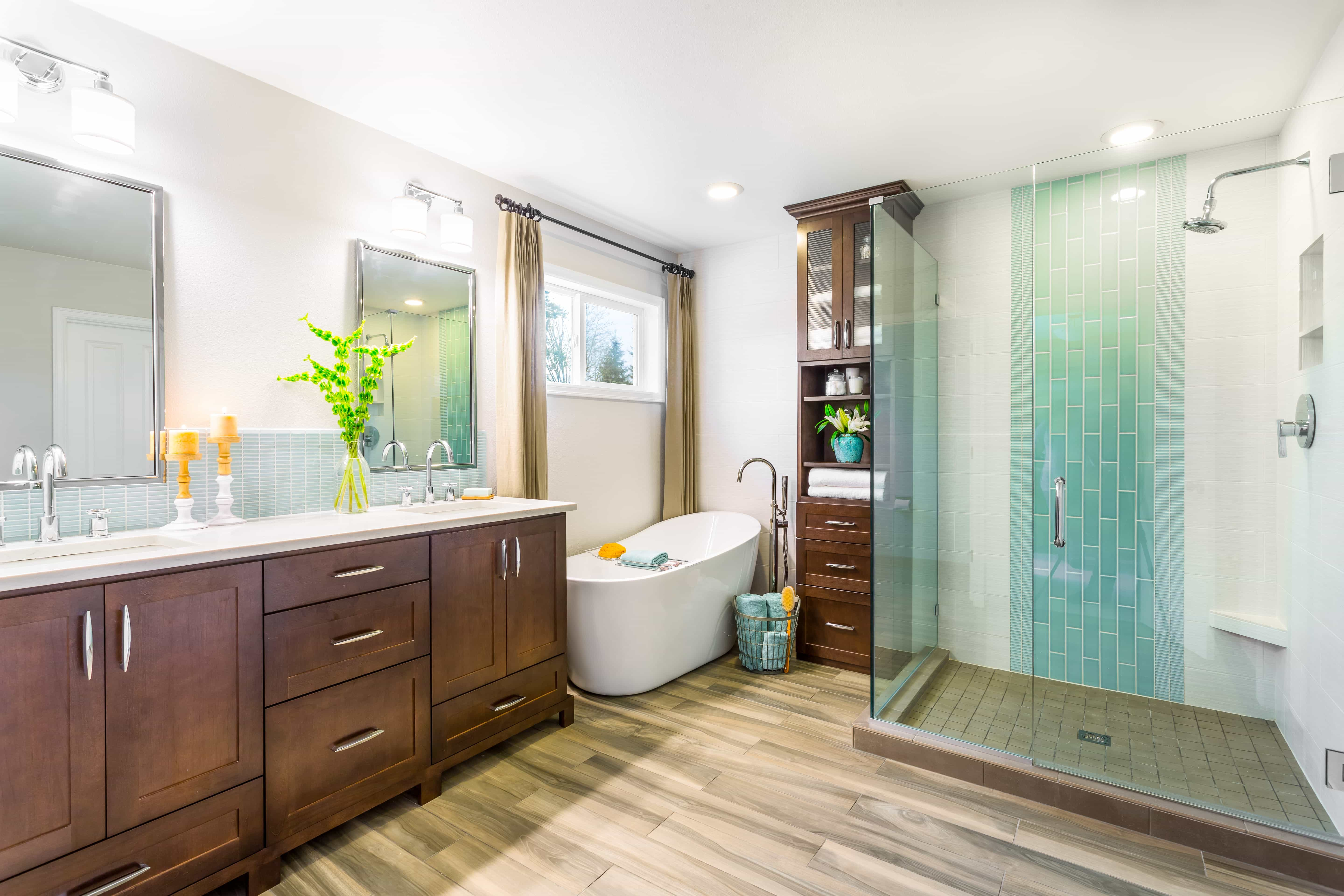 Spa Like Master Bathroom Boasts Glass Enclosed Shower Combo (Image 14 of 16)