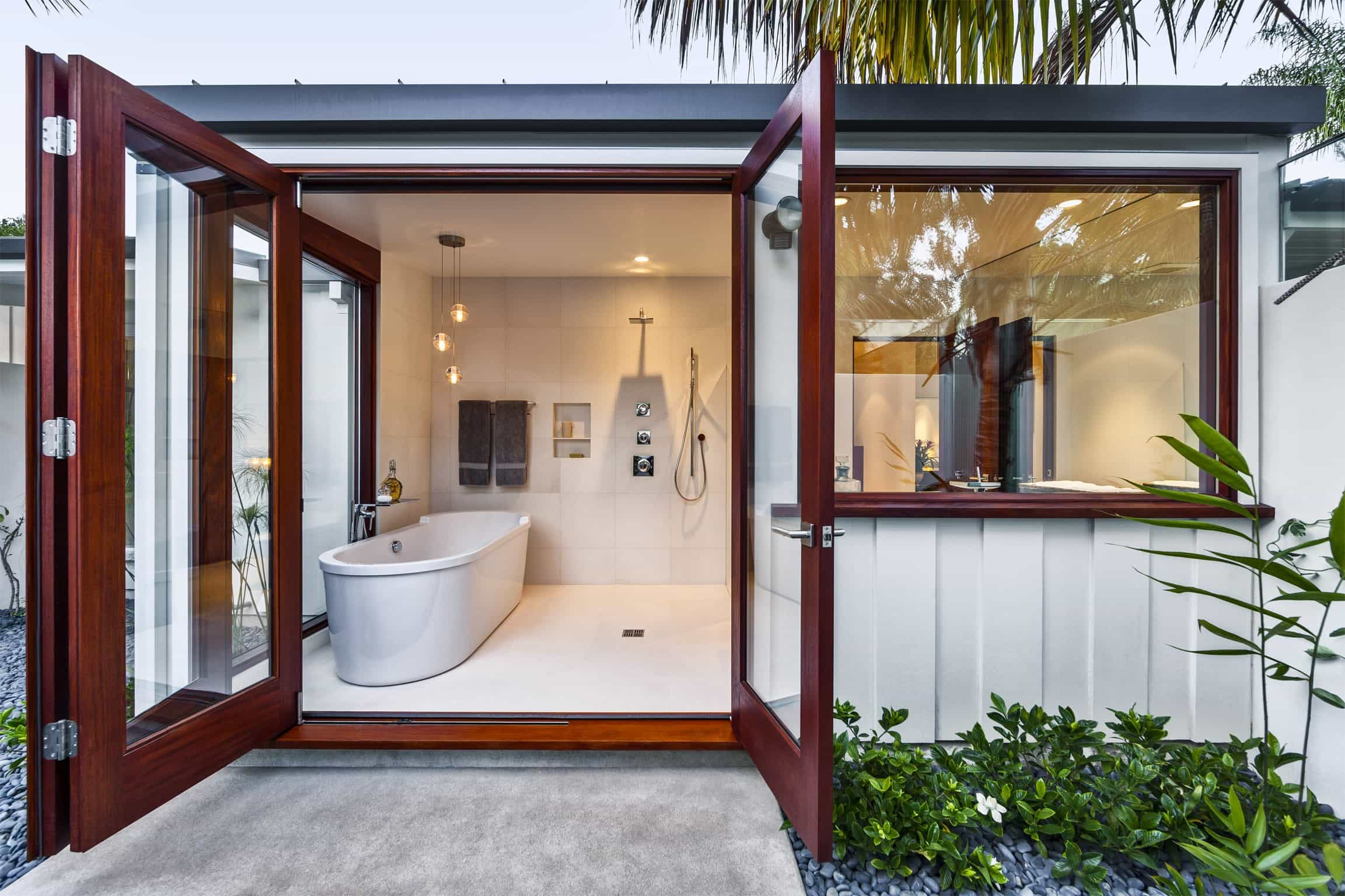 Spacious Spa And Bathroom Combination With Patio Access (Photo 9 of 16)