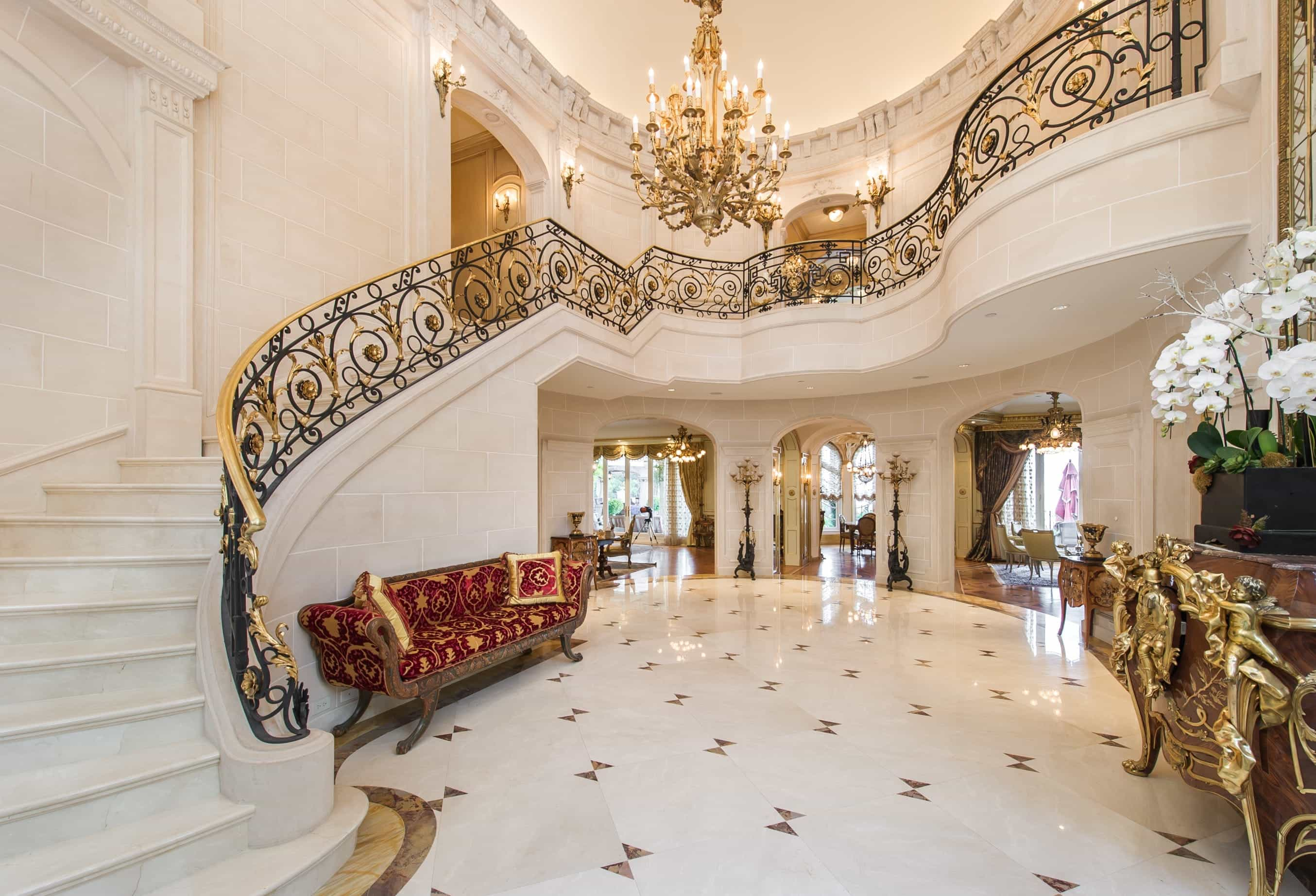 Stunning Luxury European Interior With Marble Flooring And Marble Staircase With Crystal Chandelier (Image 11 of 13)