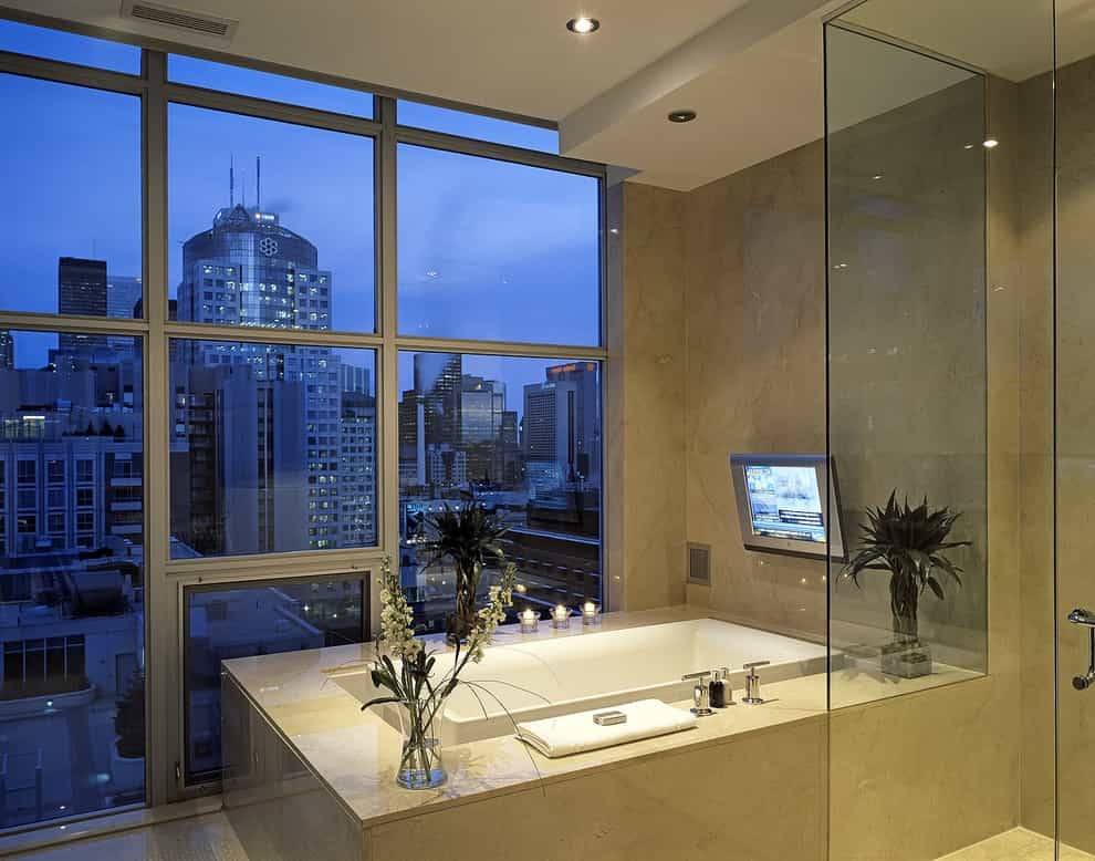 Television Installation For Contemporary Bathtub (Image 11 of 15)