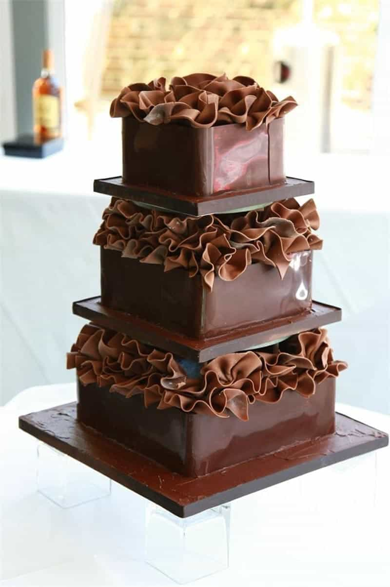 Three Tiers Square Wedding Chocolate Cake (View 12 of 30)