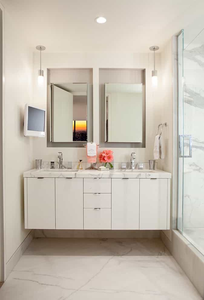 Tv On Wall And Pendulum Lights For Contemporary Minimalist Bathroom With Double Sinks And Mirrors (Image 12 of 15)