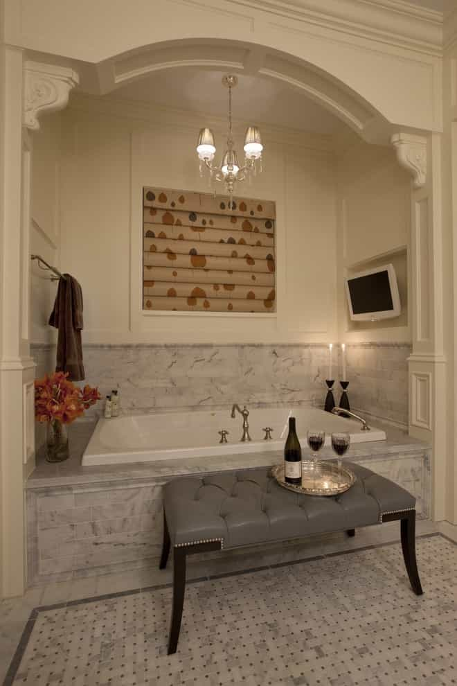 Wall Mounted TV In Classic Bathtub Installation (Image 15 of 15)