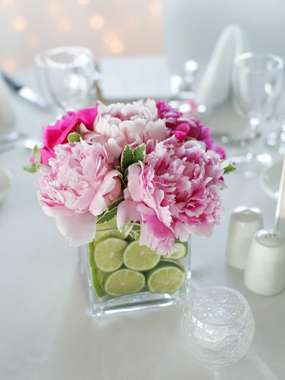 Wedding Table Centerpiece With Fresh Cut Flowers In Glass Pot (Photo 13 Of  38) Part 62