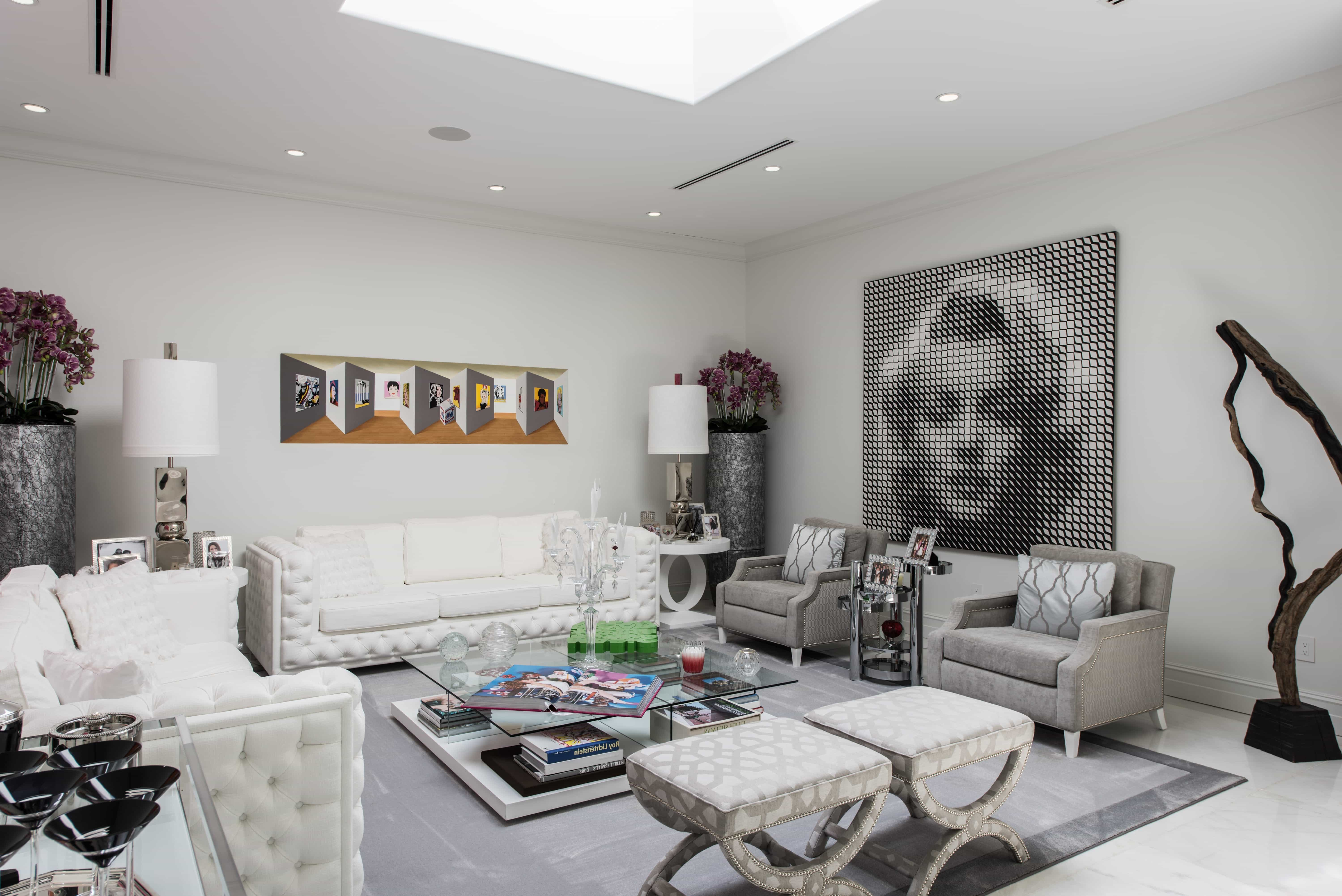 White And Gray Art Deco Living Room With Classic Grey Royal Sofa In Modern Style (Image 30 of 31)