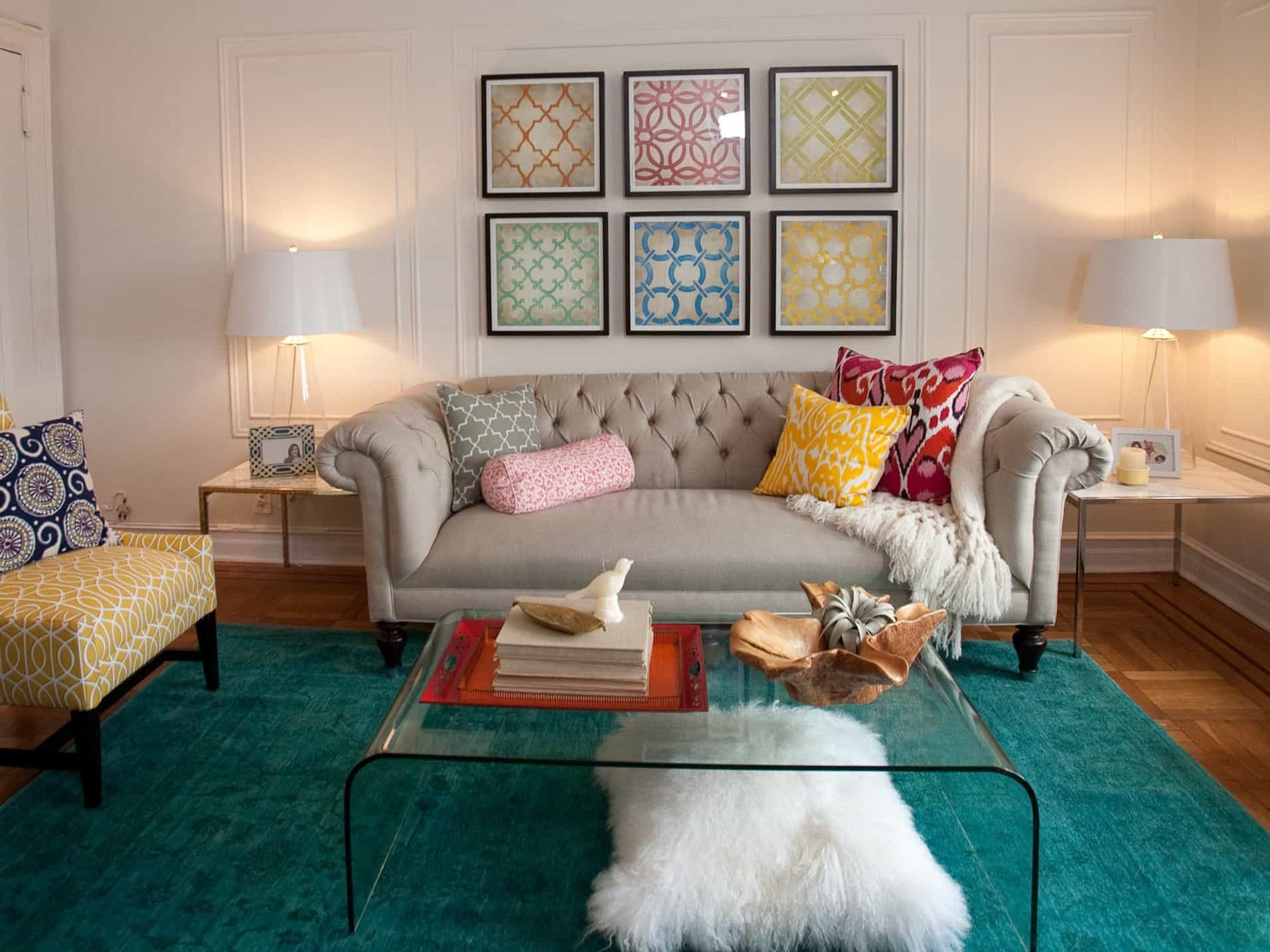 White Eclectic Living Room With Elegant Royal Sofa And Teal Area Rug (Image 31 of 31)