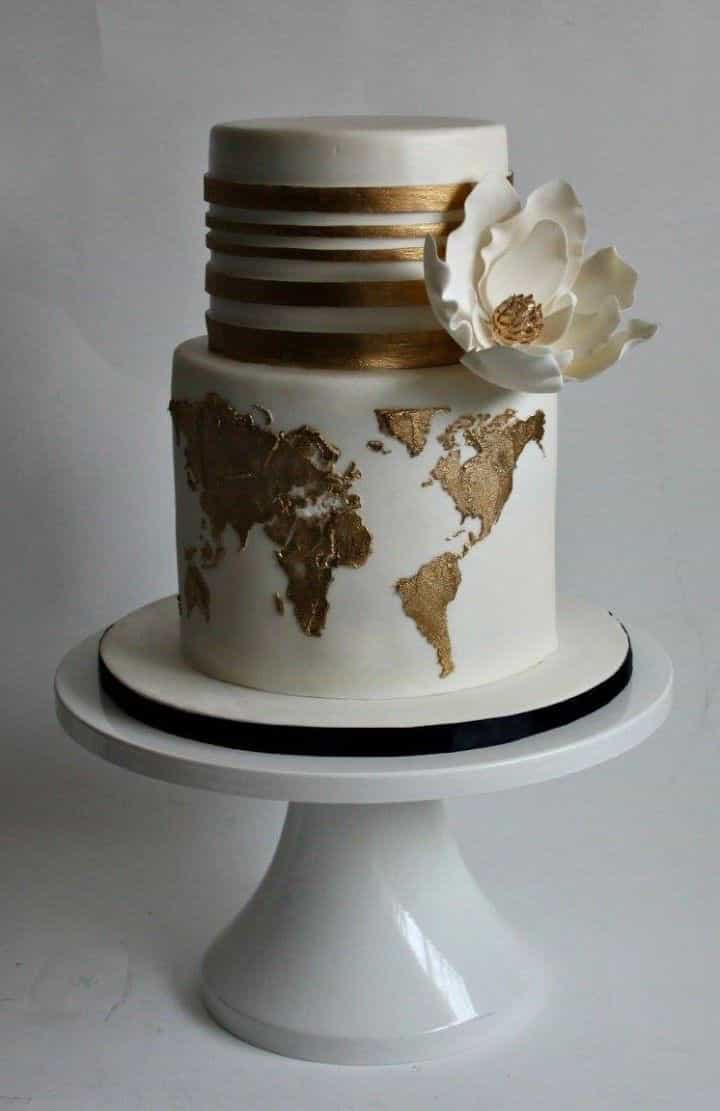 World Map Modern Mixed Pattern Wedding Cake (Image 10 of 10)