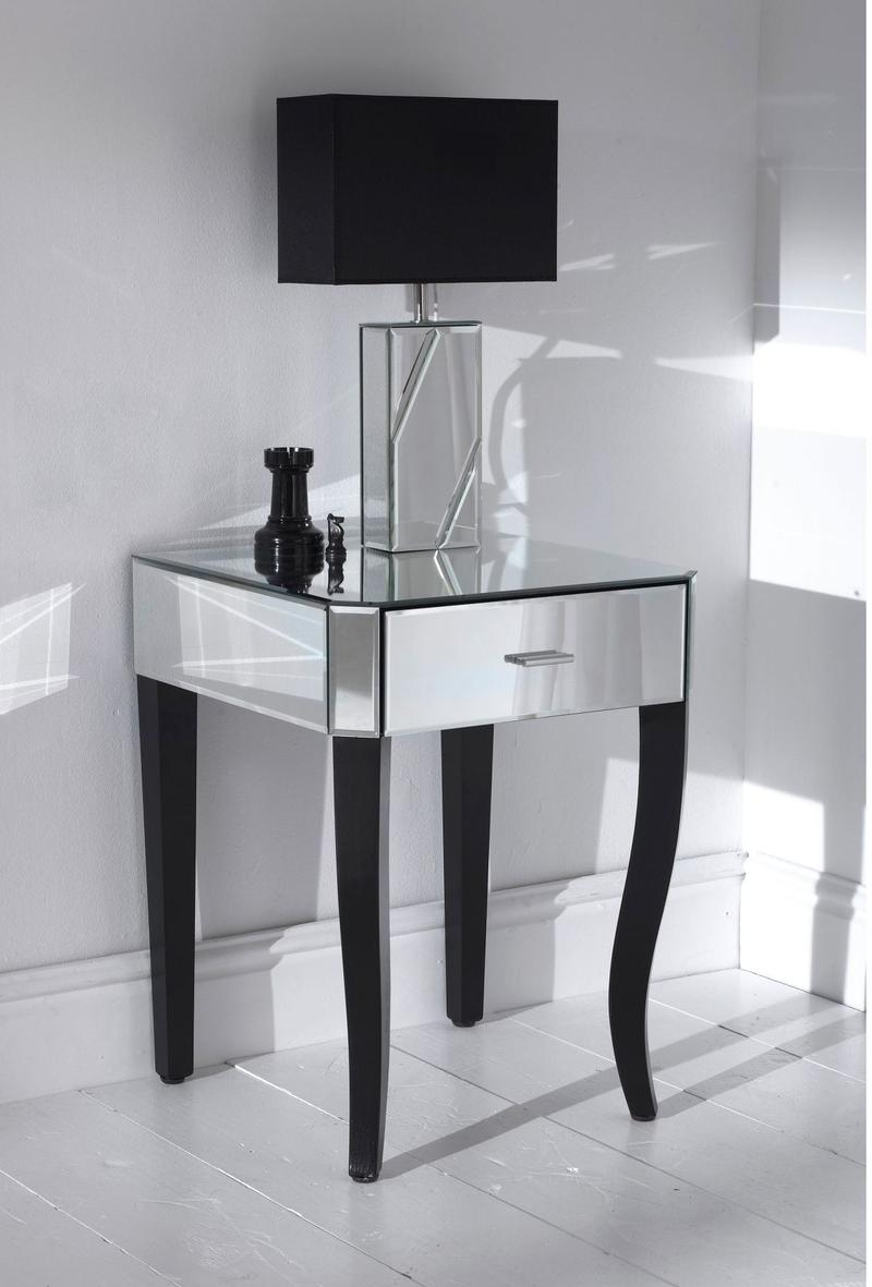 10 Classy Mirrored Bedside Table Designs Rilane In Antique Mirrored Bedside Tables (Image 1 of 15)