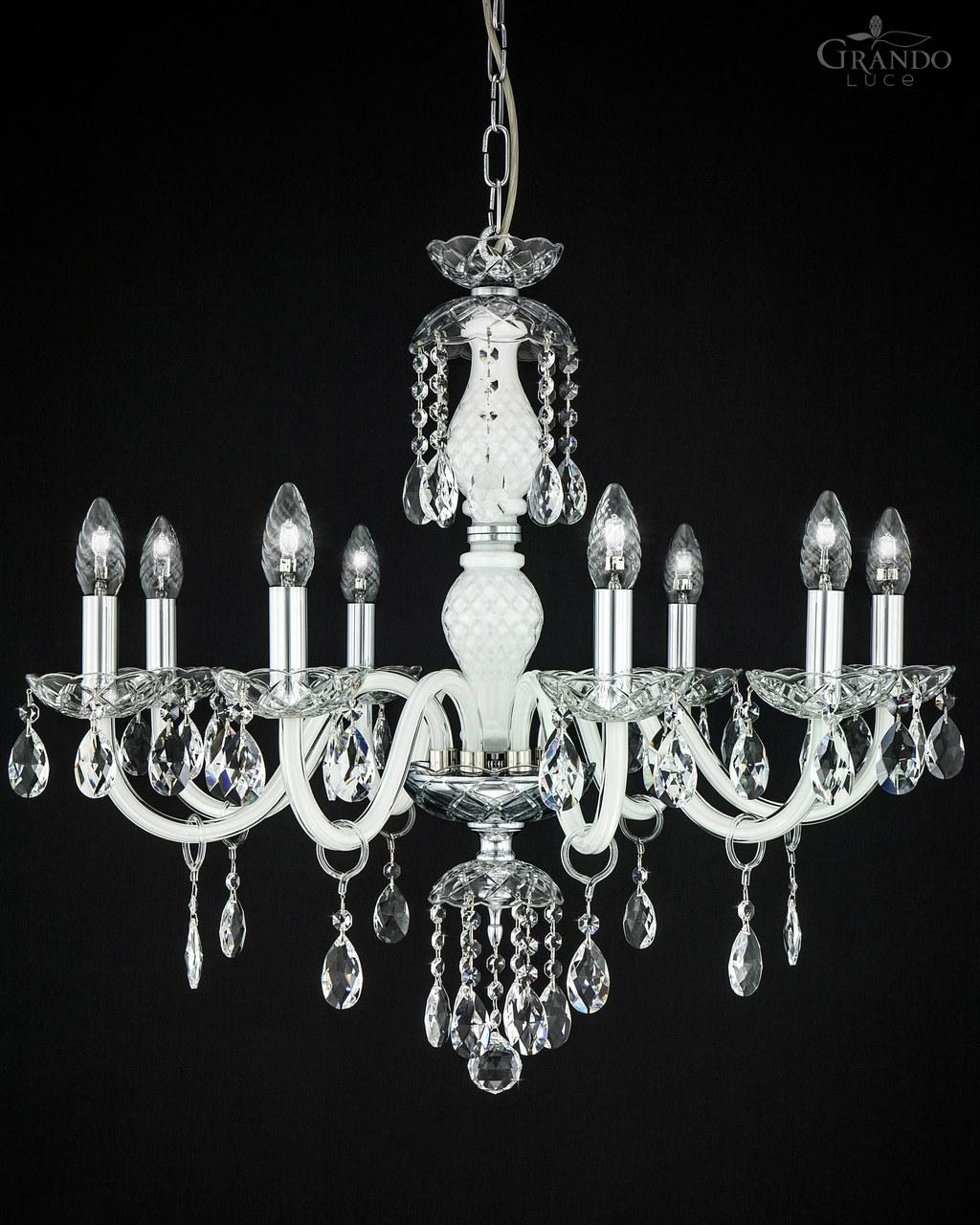 1048 Ch Chrome White Crystal Chandelier With Swrovski Spectra Regarding Crystal And Chrome Chandeliers (Image 1 of 15)