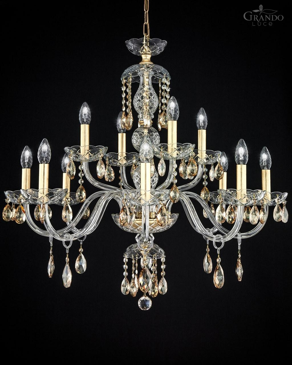 10484 Ch Gold Leaf Crystal Chandelier With Crystal Swarovski For Crystal Gold Chandelier (Image 1 of 15)