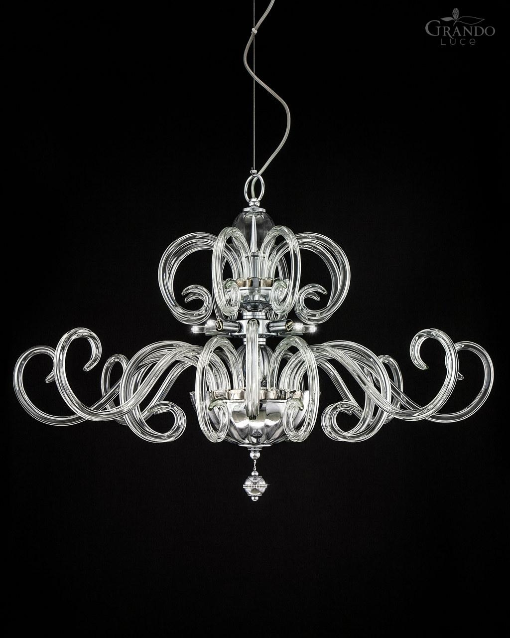 119sg Chrome Modern Crystal Chandelier With Crystal Swarovski In Modern Silver Chandelier (Image 1 of 15)