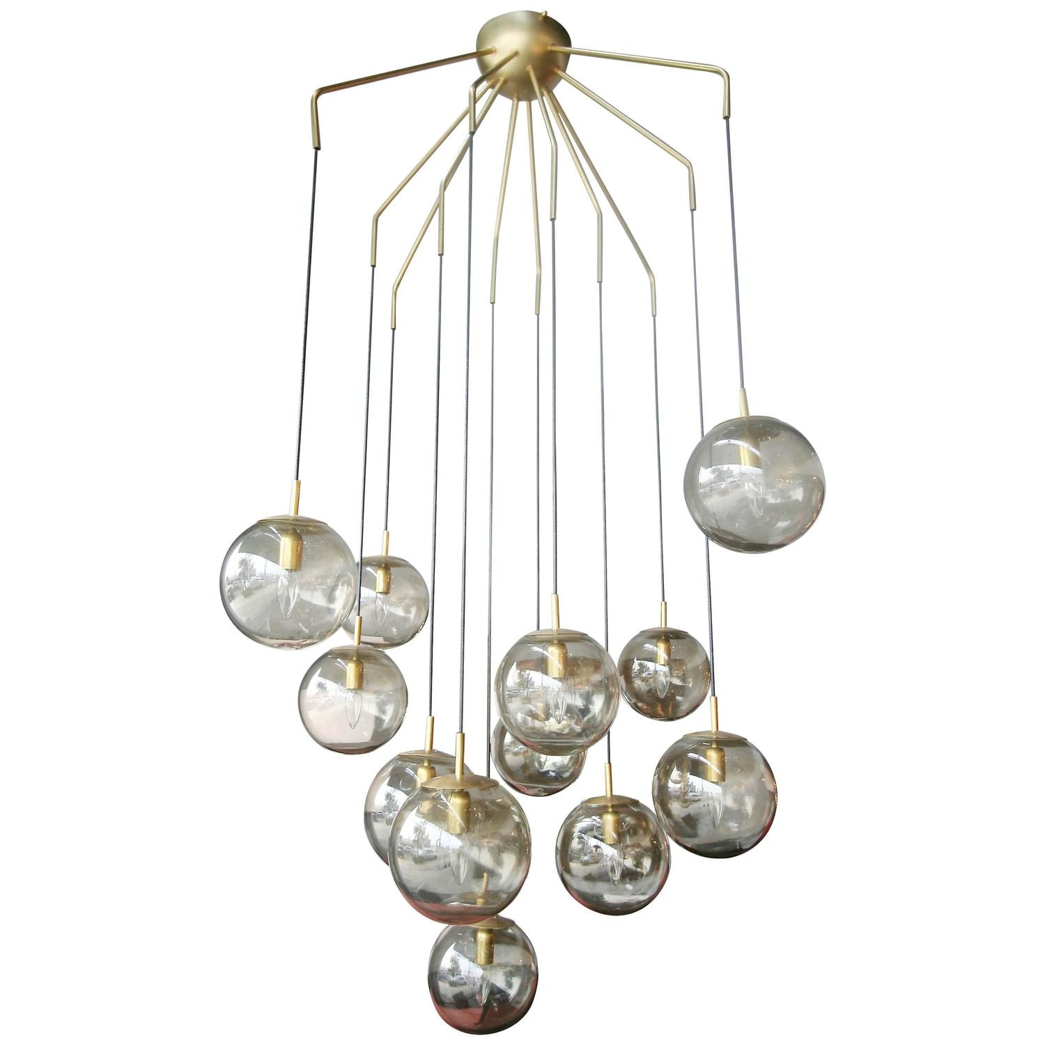 12 Ball Smoked Glass Murano Chandelier Lampadario Moderno In Smoked Glass Chandelier (Image 1 of 15)