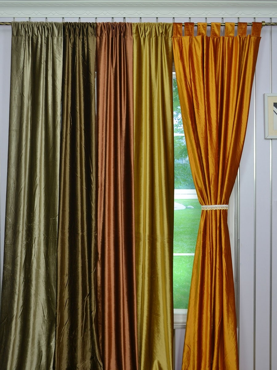 120 Inch Extra Wide Whitney Brown Blackout Grommet Velvet Curtains Throughout Yellow Velvet Curtains (Image 2 of 15)