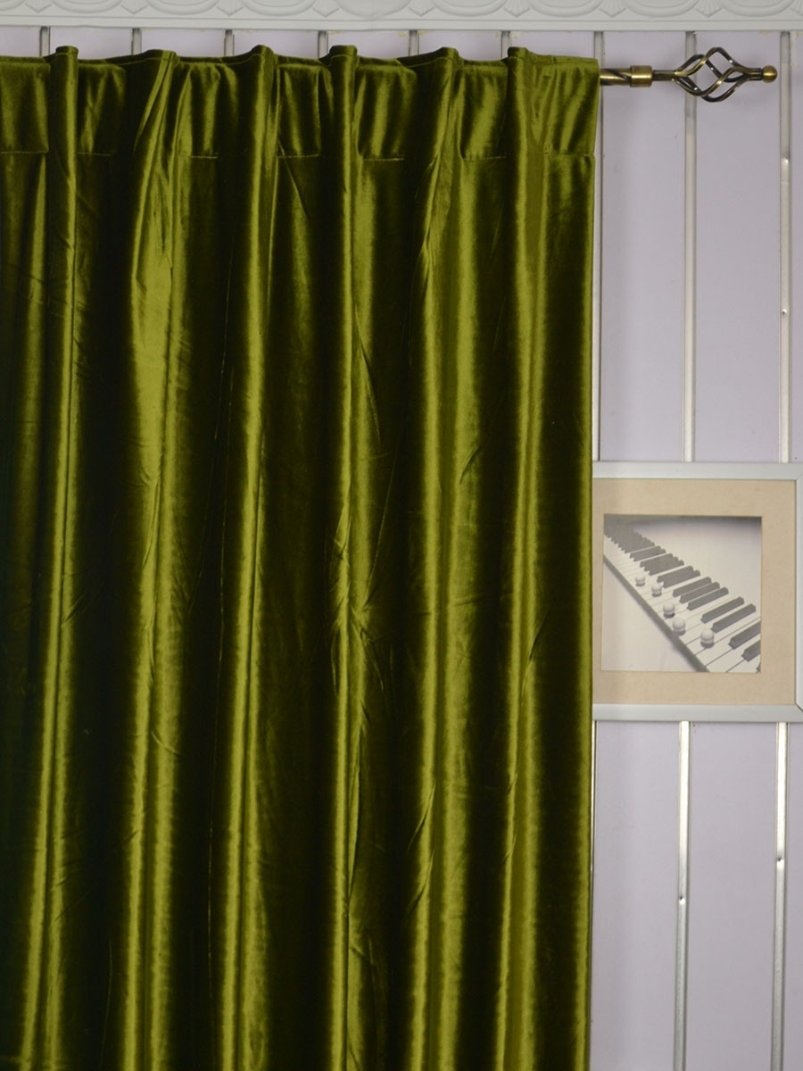 120 Inch Extra Wide Whitney Green And Blue Blackout Grommet Velvet Inside Ready Made Curtains 120 Inch Drop (Image 4 of 15)