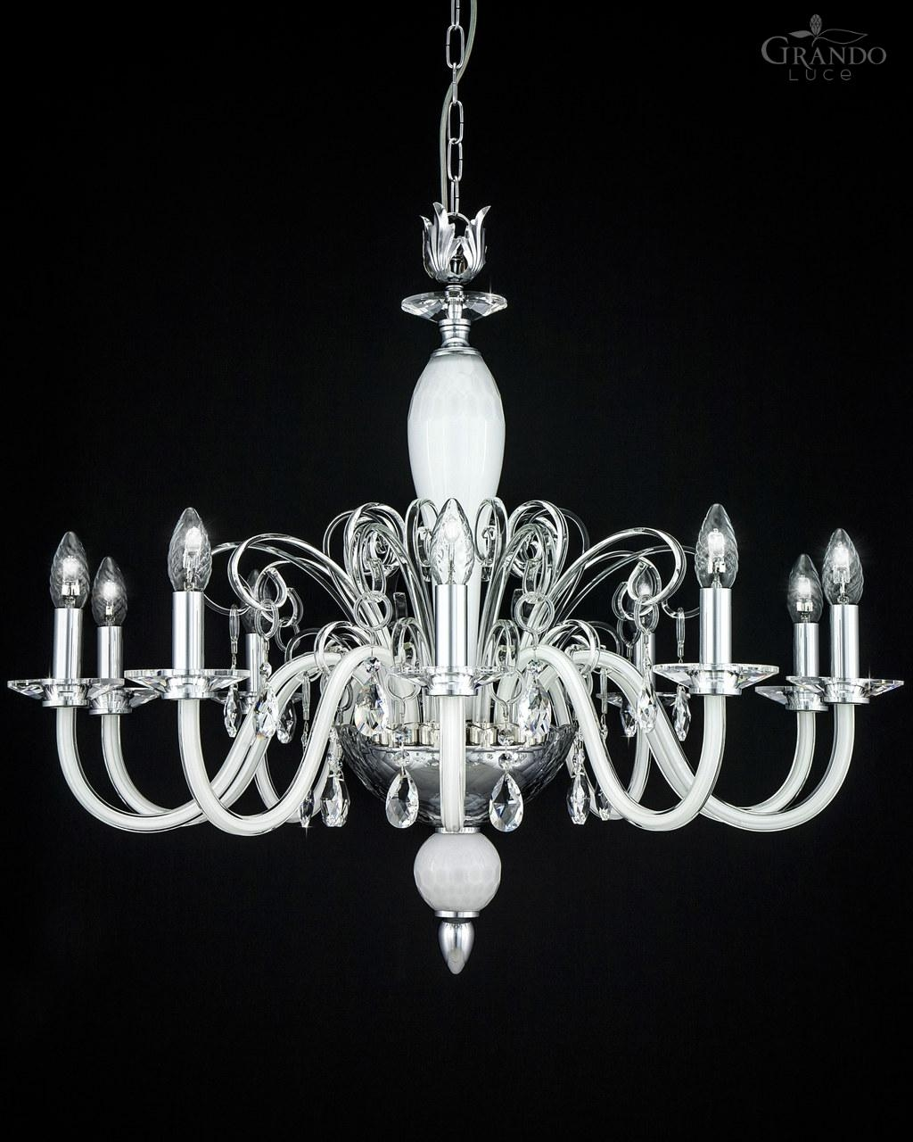 12010 Ch Chrome White Crystal Chandelier Grandoluce Within White Chandelier (Image 2 of 15)