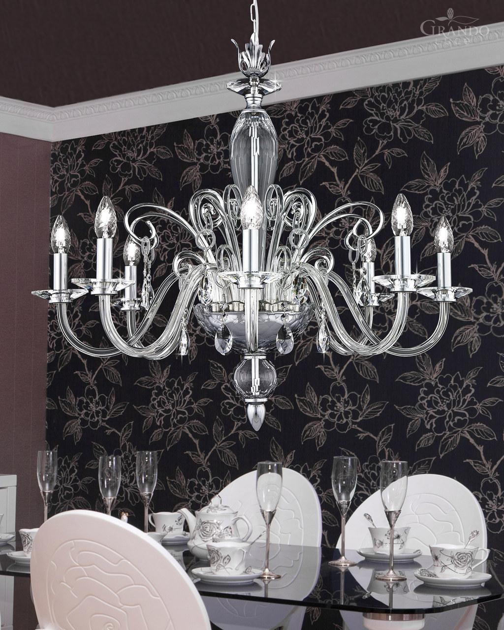 1208 Ch Chrome Crystal Chandelier With Swarovski Elements Pertaining To Chrome Crystal Chandelier (Image 2 of 15)