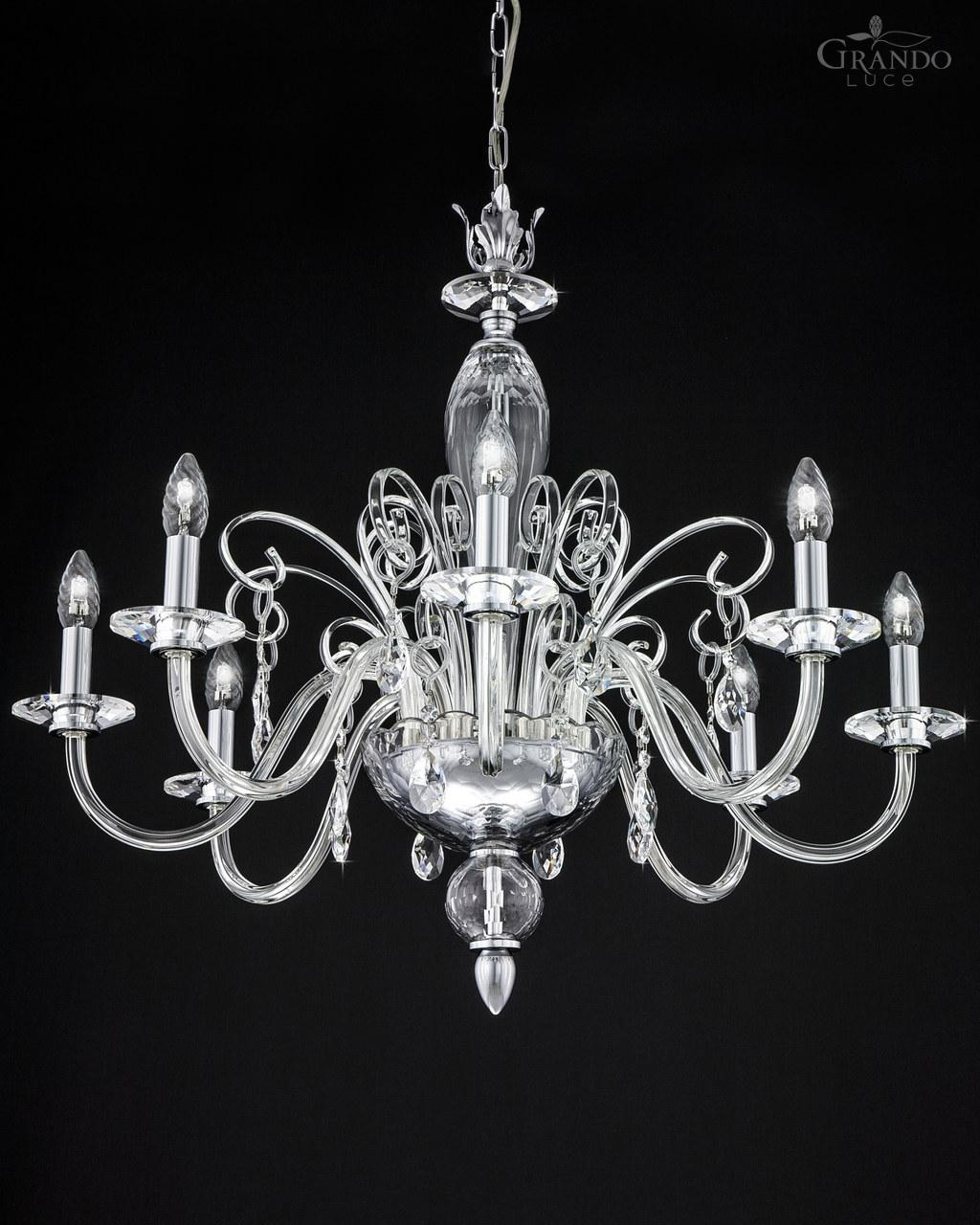 1208 Ch Chrome Crystal Chandelier With Swarovski Elements With Chandelier Chrome (Image 1 of 15)