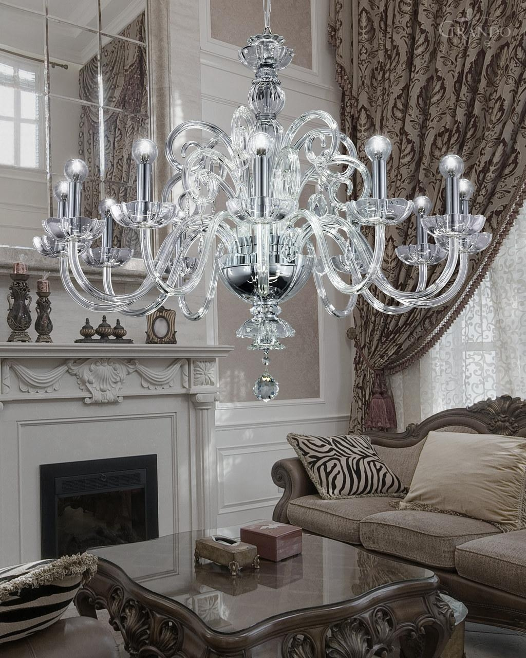 12512 Ch Chrome Crystal Chandelier With Crystal Swarovski Spectra For Crystal And Chrome Chandeliers (Image 5 of 15)