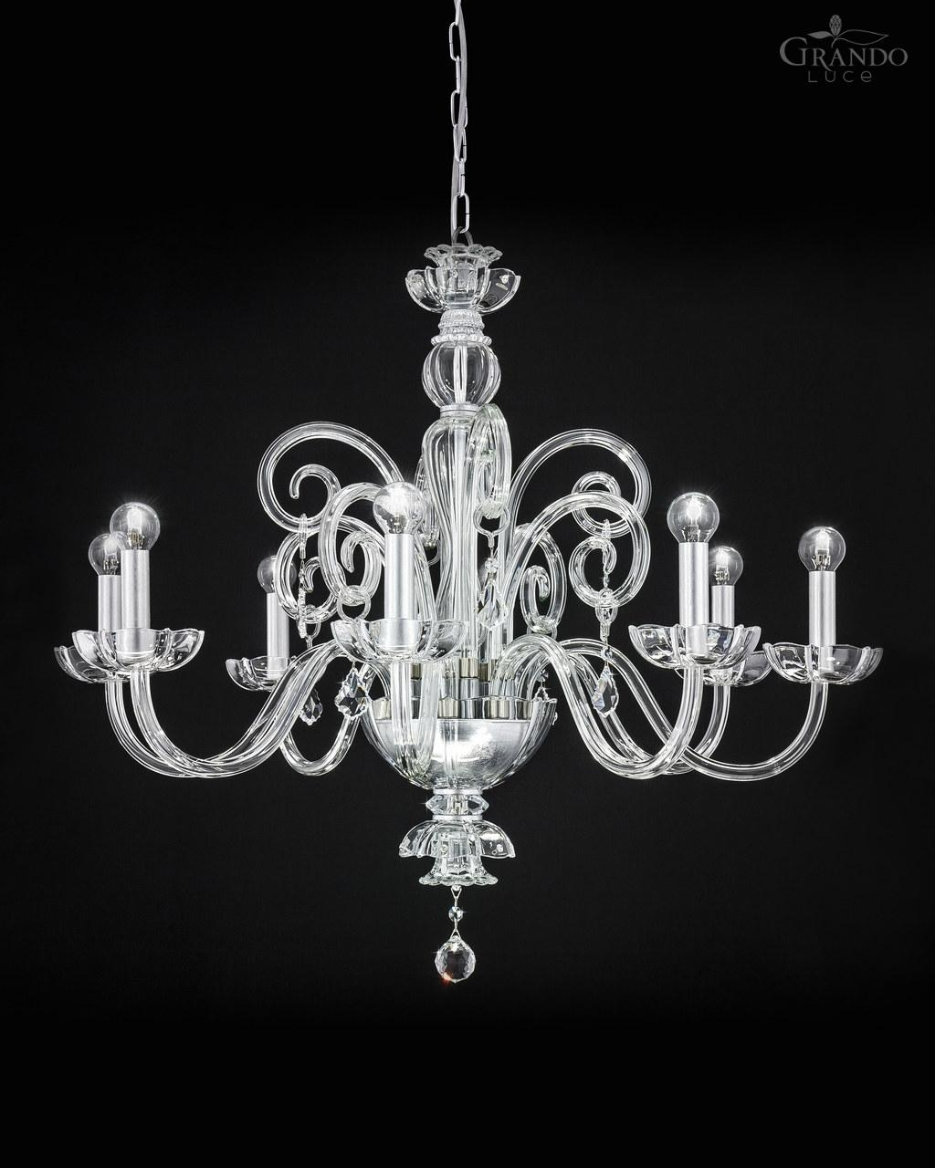 1258 Ch Silver Leaf Crystal Chandelier Decorated With Swarovski Pertaining To Silver Chandeliers (Image 4 of 15)