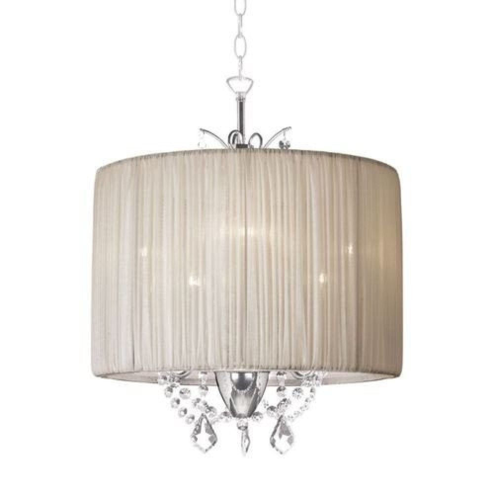 14 Cream Vanessa Crystal Chandelier Drum Silk Fabric Inside Cream Chandelier (Image 1 of 15)