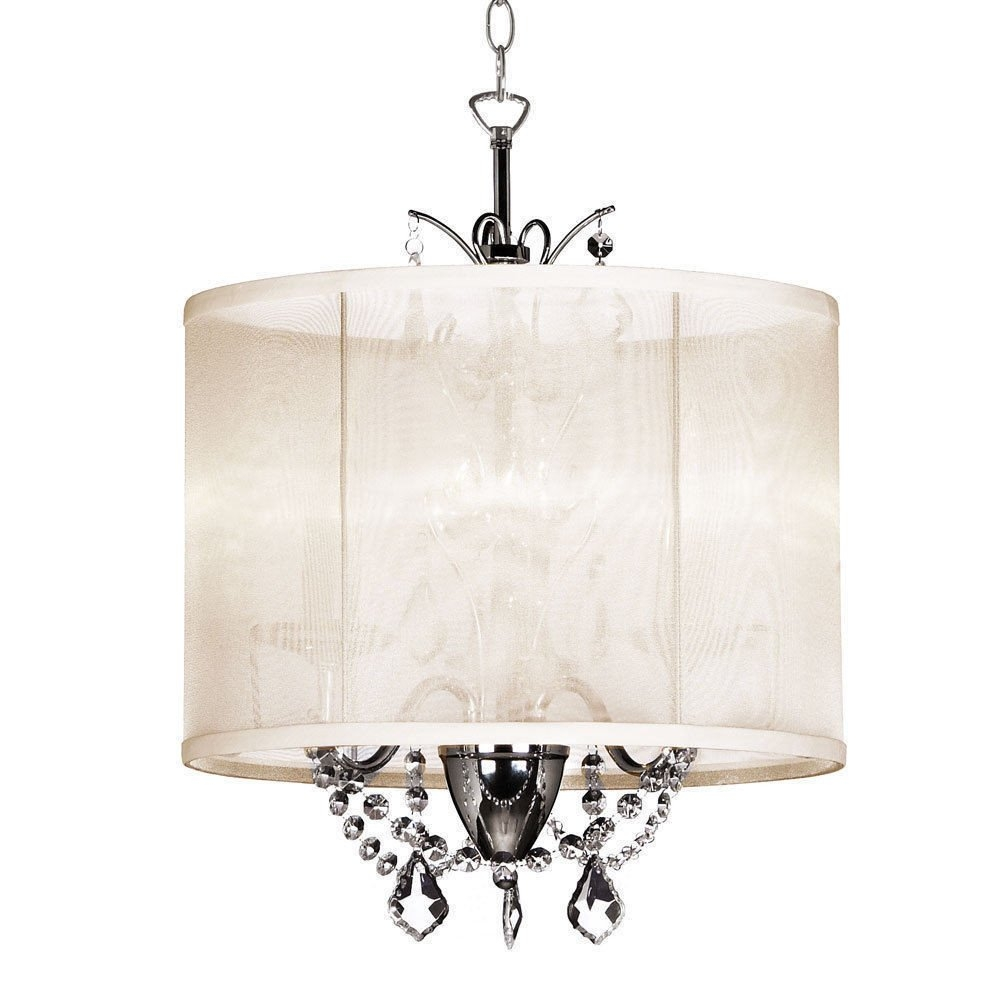 14 Inch Cream 3 Light Mini Crystal Chandelier White Silk In Cream Crystal Chandelier (Image 1 of 15)