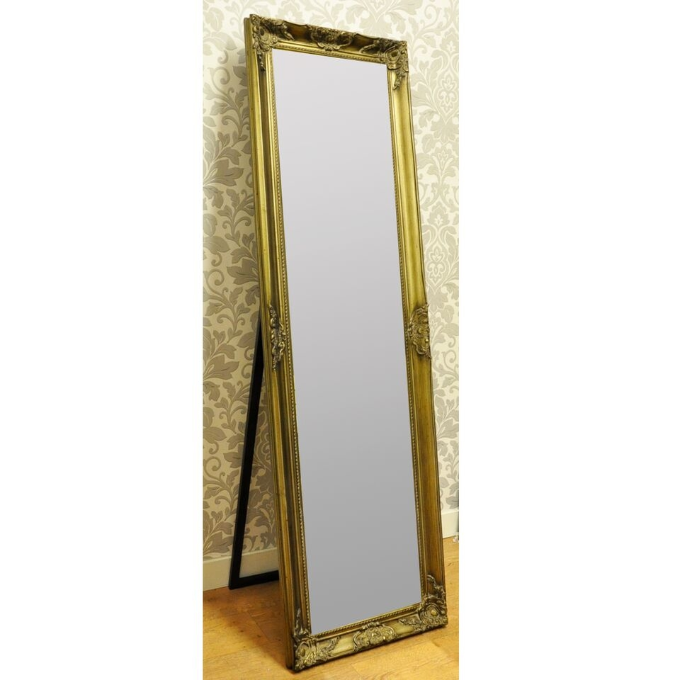 14×60 French Style Ornate Sweapt Antique Gold Free Standing Mirror With Regard To Ornate Free Standing Mirror (Image 1 of 15)