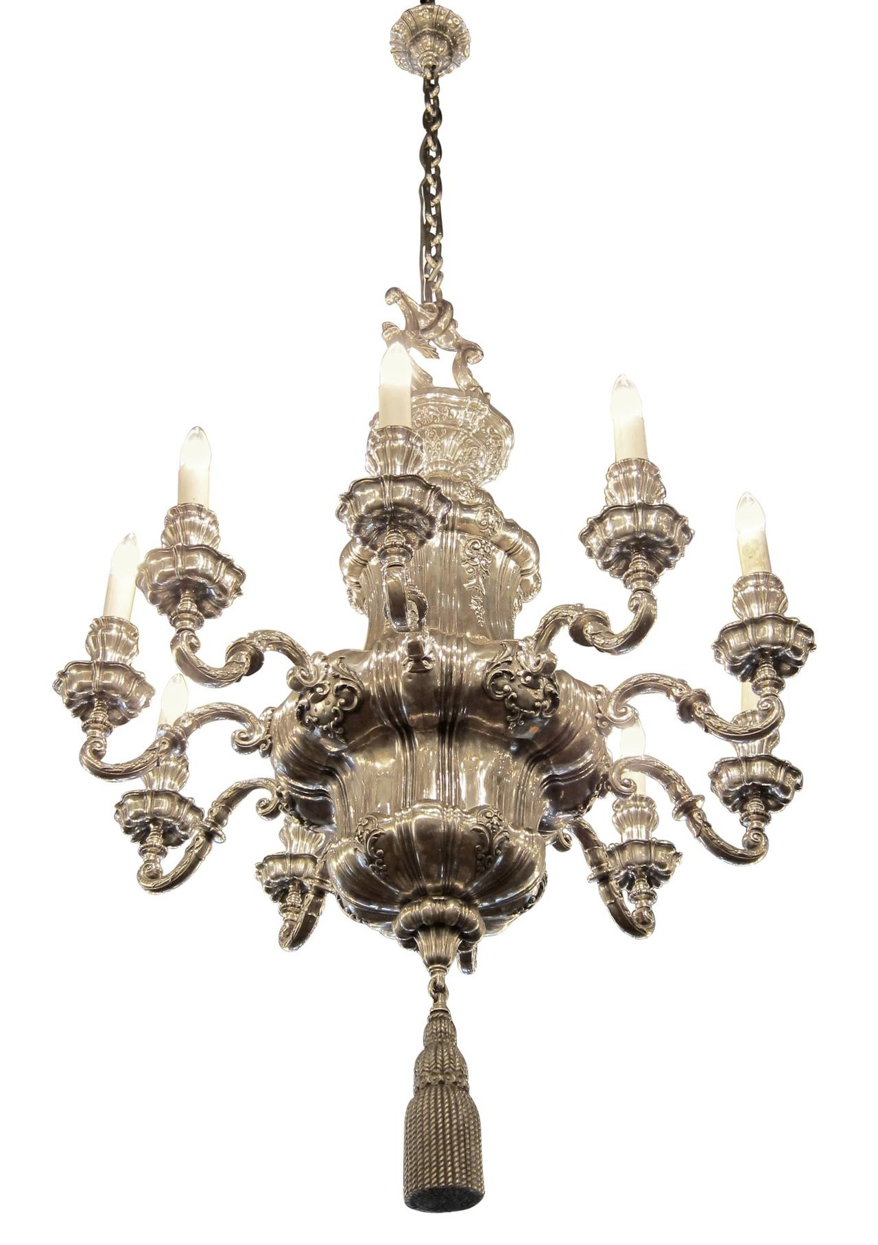 1895 Silvered Bronze Georgian Style Ten Arm Chandelier E F Regarding Georgian Chandelier (Image 1 of 15)